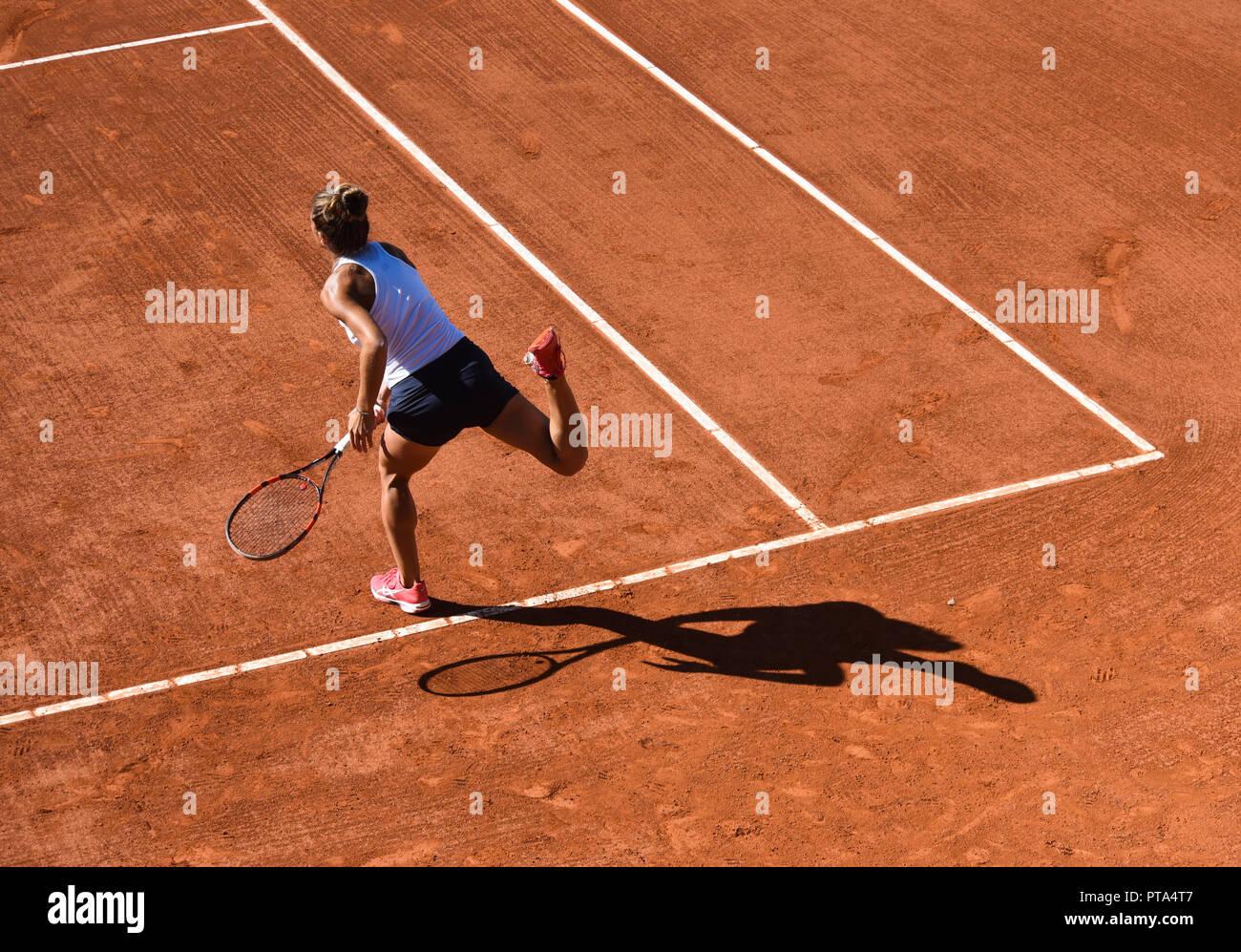 Detalles de un partido de tenis femenino Foto de stock