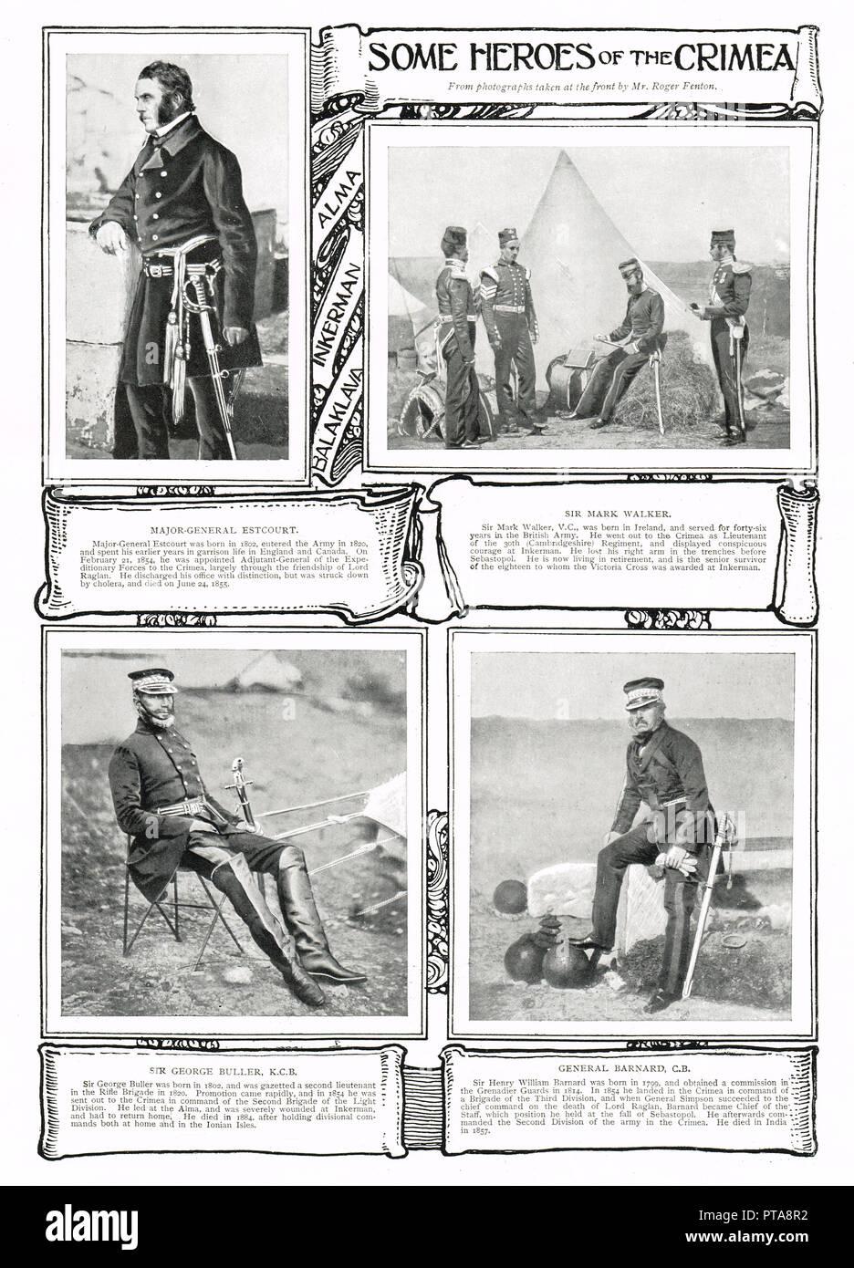Los héroes de la guerra de Crimea, James Bucknall Estcourt Bucknall, Mark Walker VC, Sir George Buller, Sir Henry William Barnard, las fotografías tomadas en el frente, durante la Guerra de Crimea, por Roger Fenton Foto de stock