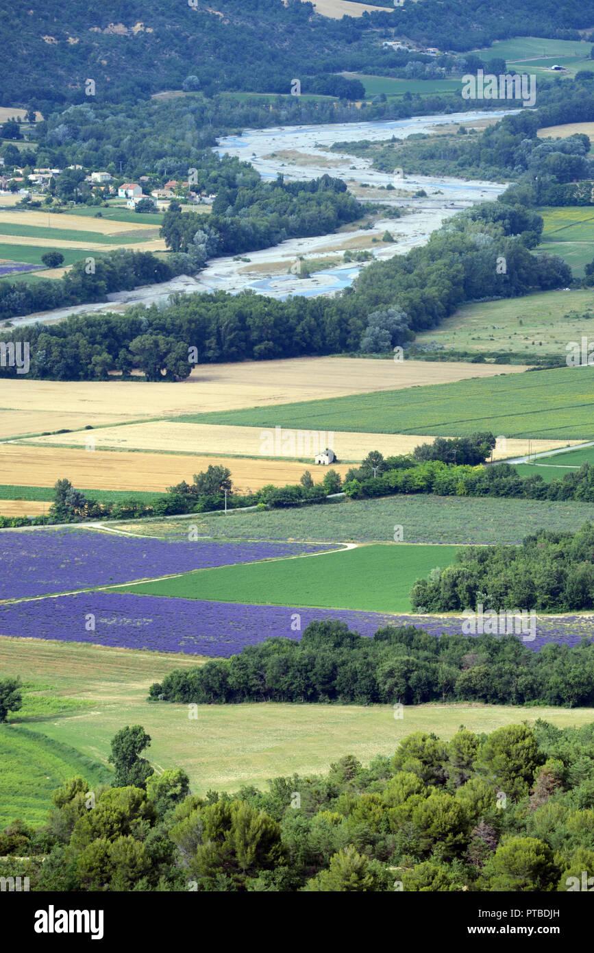 High-Angle o Vista aérea de trigo y lavanda patrones de campo en el valle de Asse disparado desde la meseta de Valensole Provence Francia Imagen De Stock