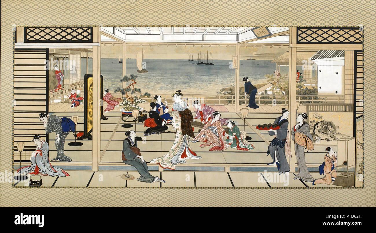 Kitagawa Utamaro, Moonlight juerga en Dozo Sagami, Circa 18ª del siglo xix, tinta y color sobre paperr, Freer Gallery of Art, Washington, D.C., Estados Unidos. Foto de stock
