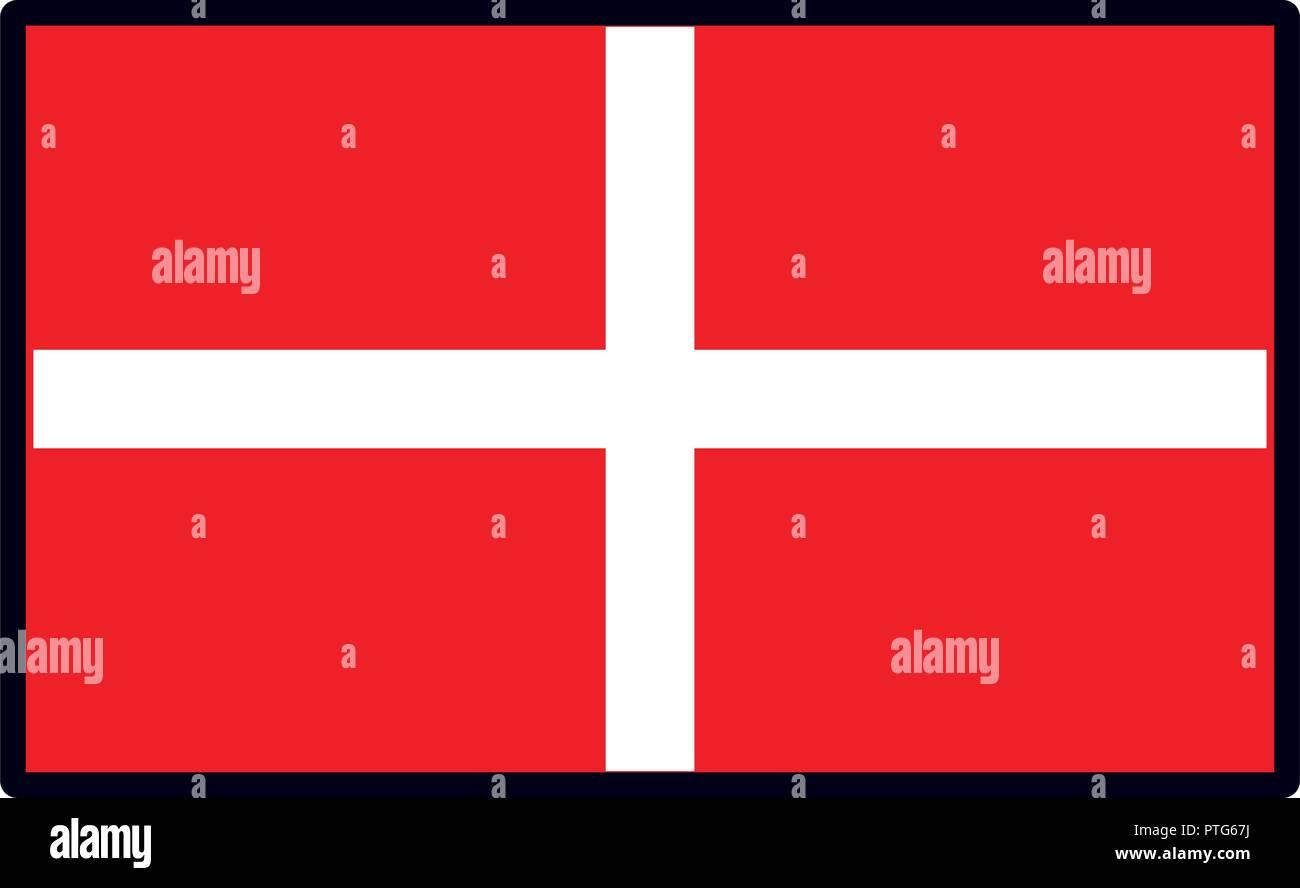 El emblema de la bandera de Dinamarca Ilustración del Vector
