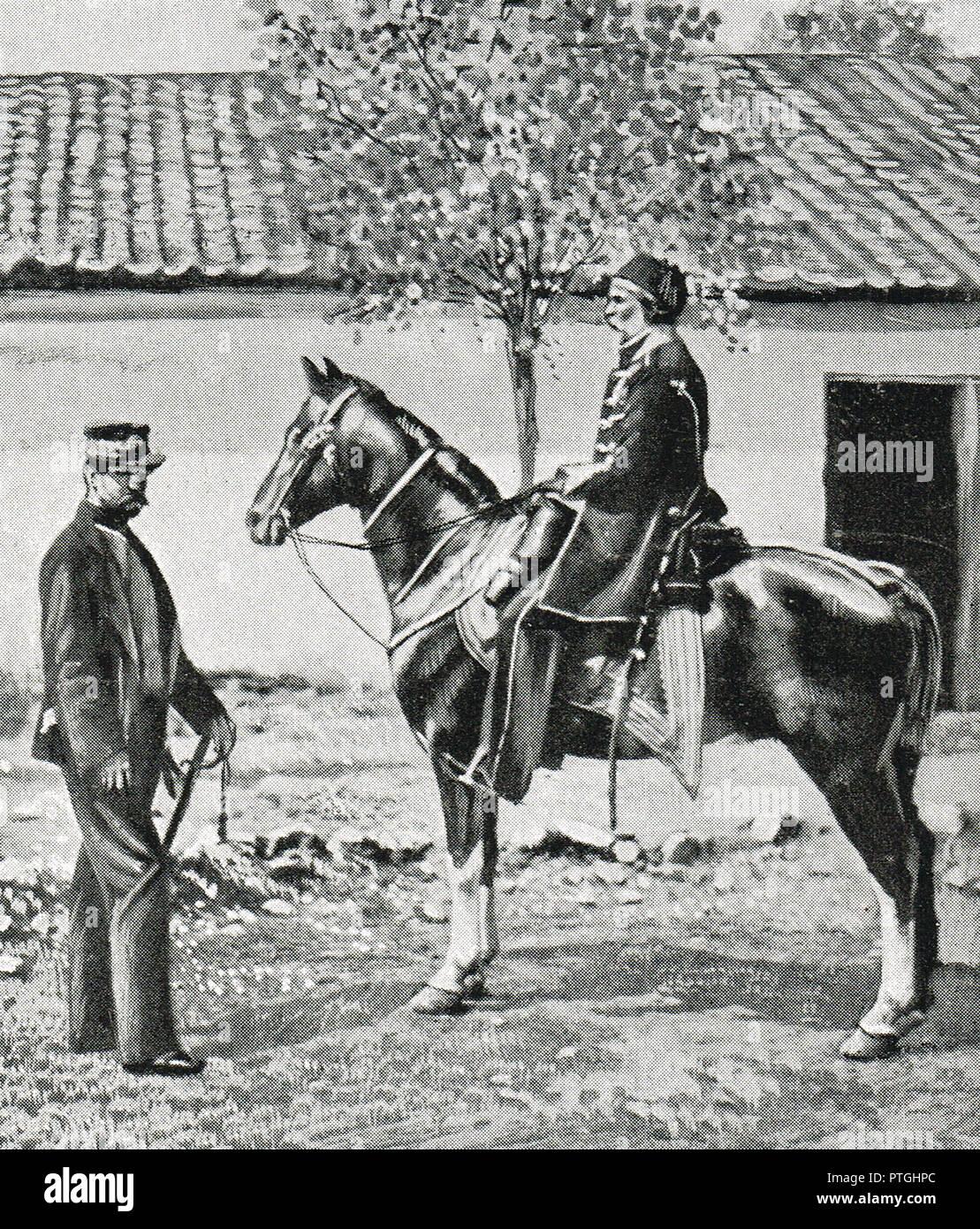Omar Pasha a caballo, con el Coronel Simmons, durante la Guerra de Crimea, por Roger Fenton Foto de stock