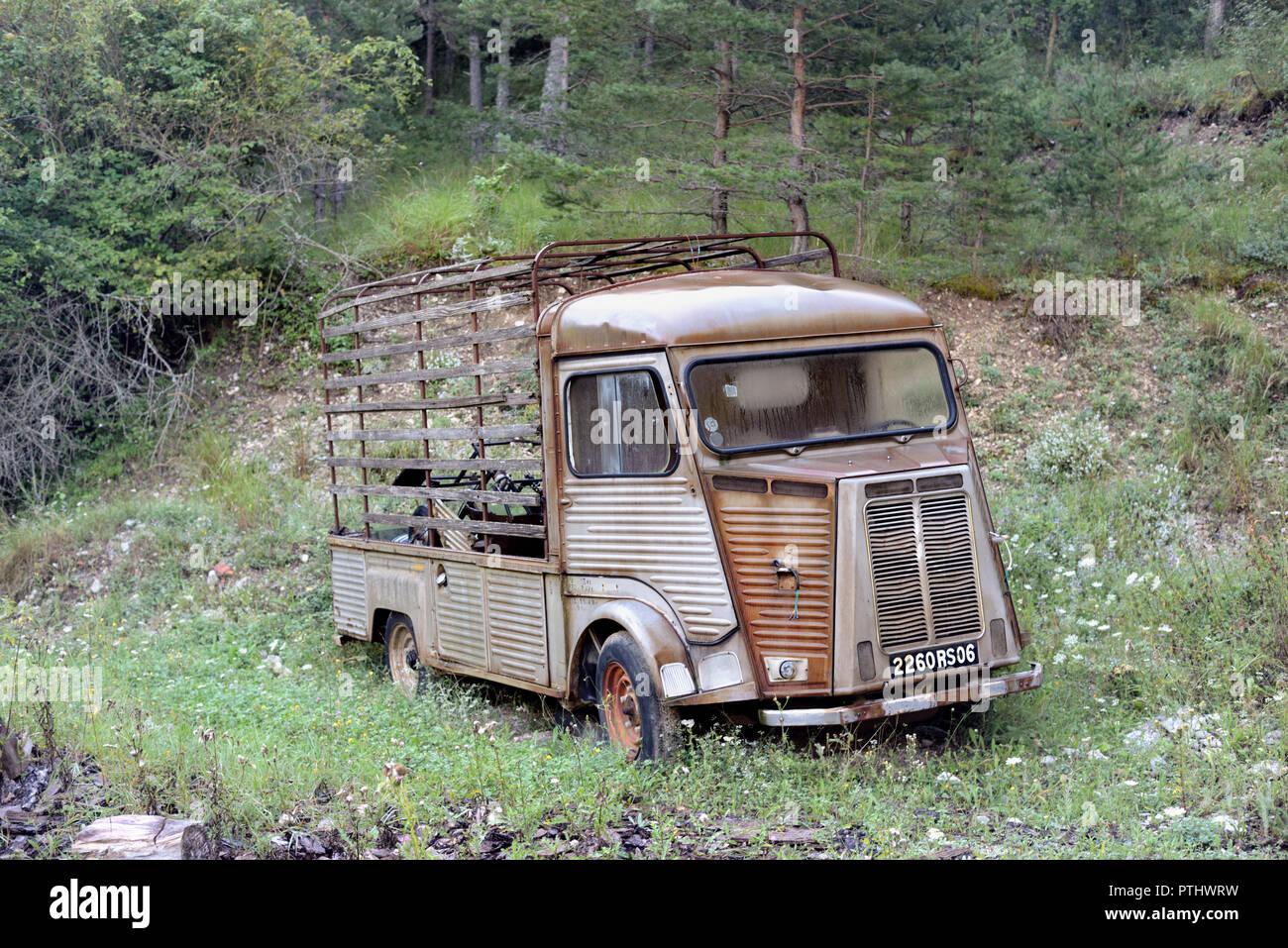 Abandonado Vintage Citroën Tipo H Van en la tala de árboles en el Parque Regional del río Verdon Taloire Provence Francia Foto de stock