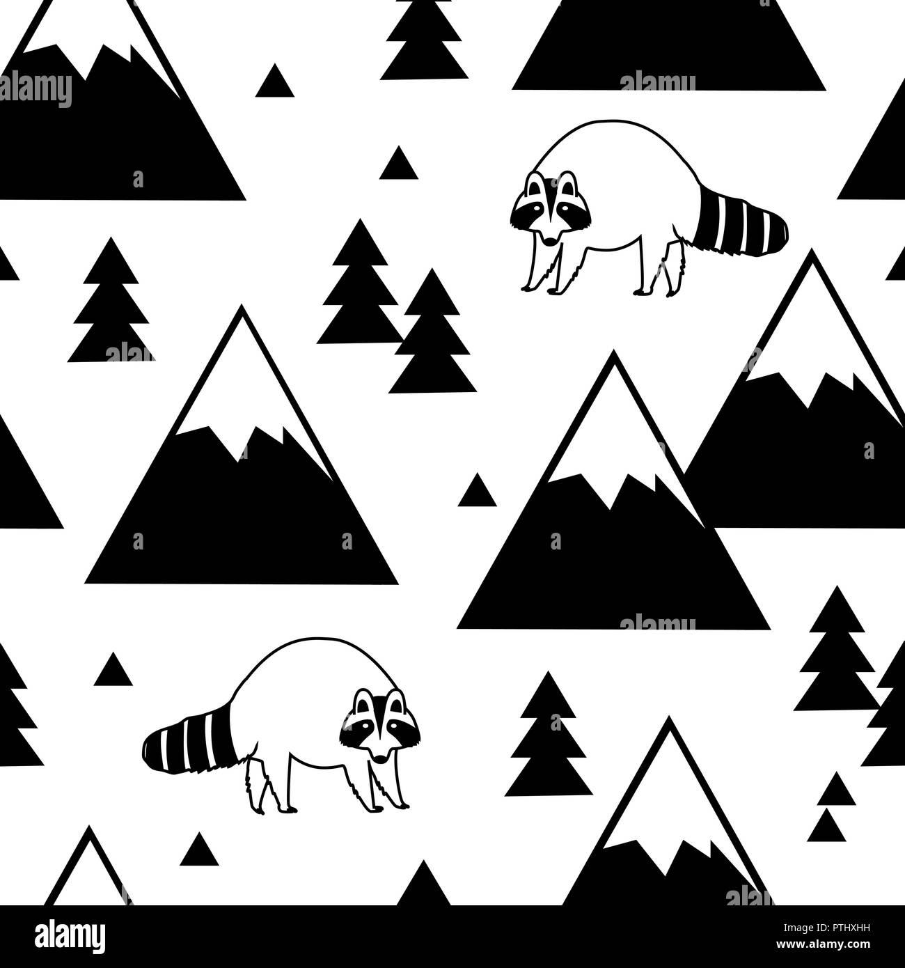 Blanco y negro patrón sin fisuras de un mapache, montañas y bosques ...