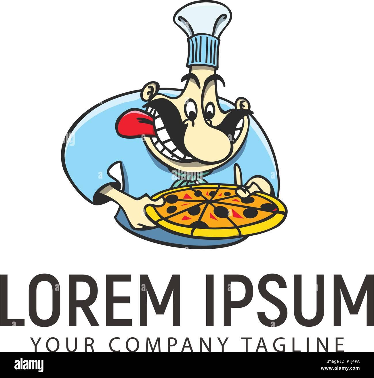 b0cc1e8c8 Pizza chef carácter concepto de plantilla de diseño de logotipo Imagen De  Stock