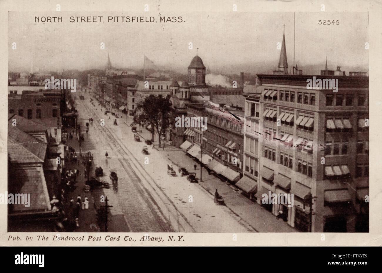 North Street Pittsfield, MA, una postal antigua Imagen De Stock