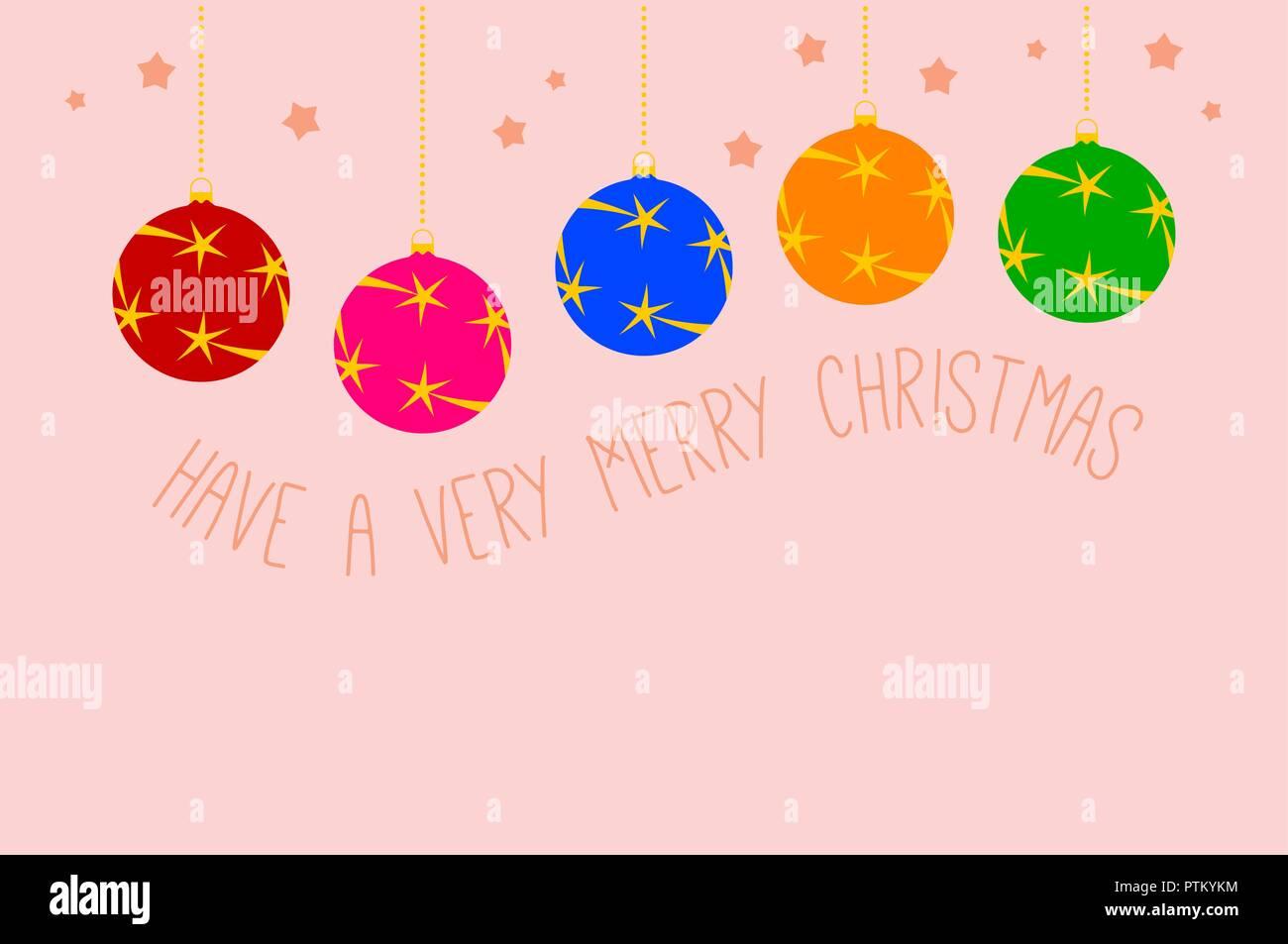 Creacion De Felicitaciones De Navidad.Piso Colgando Bolas De Navidad Vector Plantilla De Tarjeta
