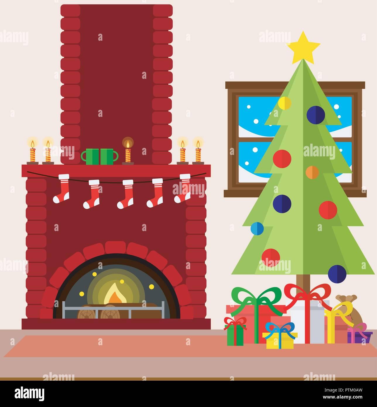 Dibujos Chimeneas De Navidad.Navidad Chimenea Sala Interior En Un Colorido Estilo Plano