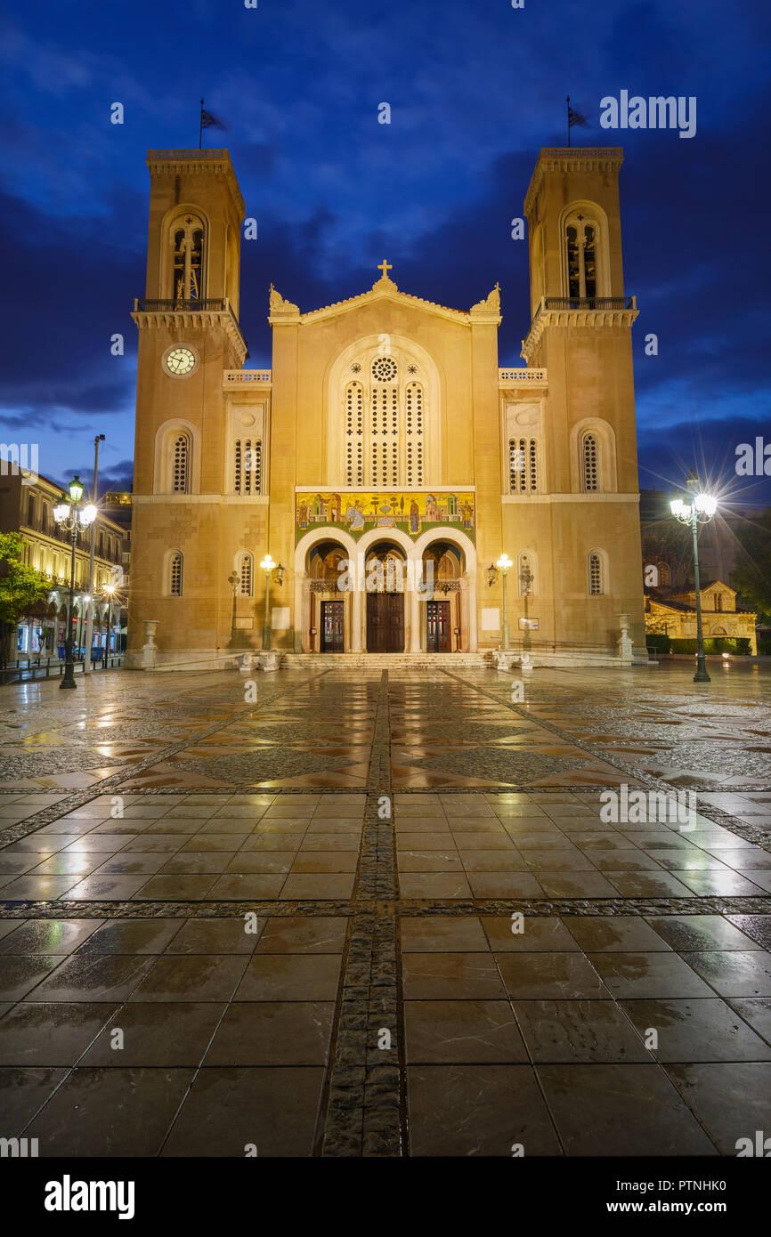 Atenas, Grecia - 29 de septiembre de 2018: Catedral Metropolitana de Atenas situado en Plaza Metropolis en el casco antiguo de Atenas. Imagen De Stock