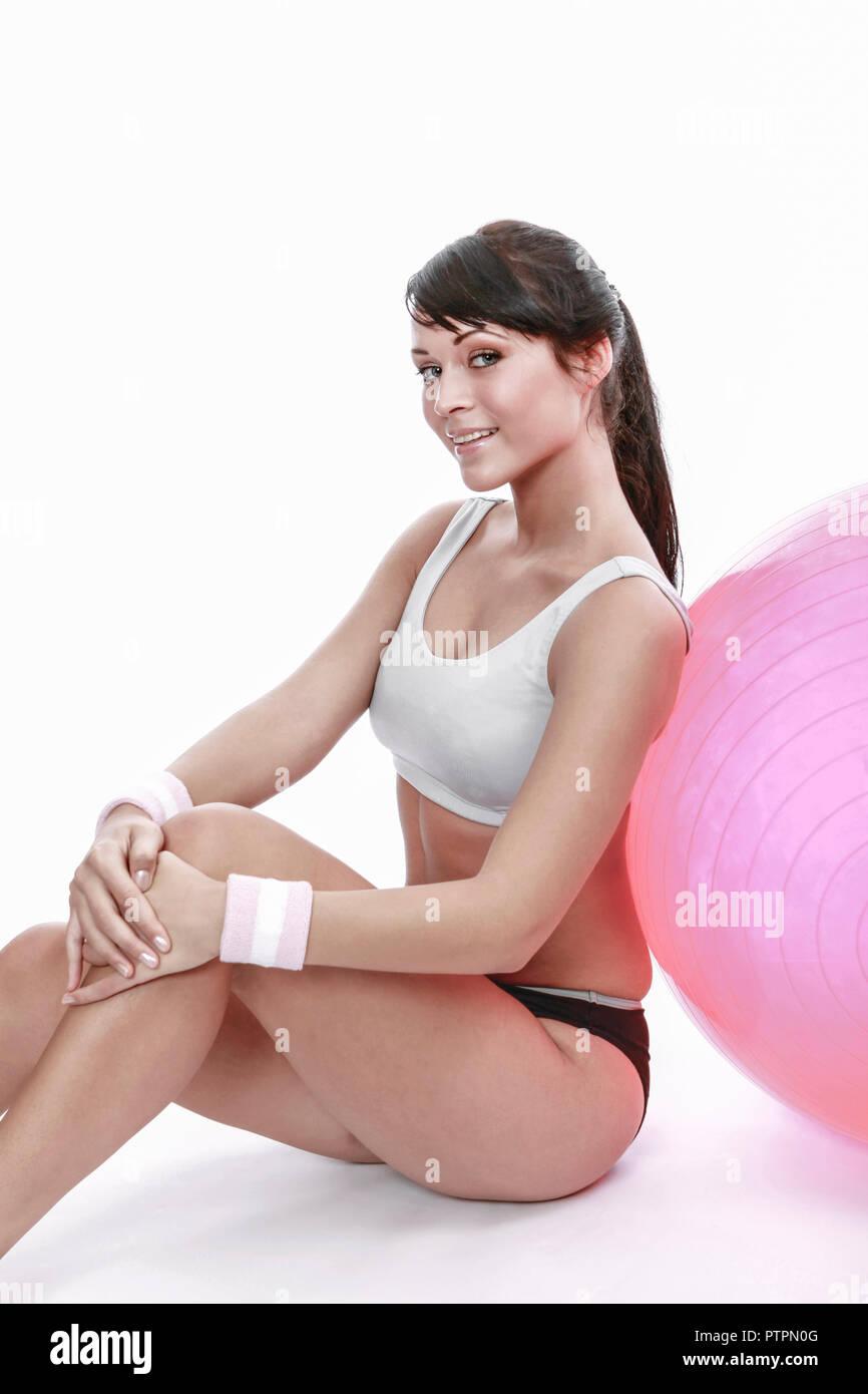 Frau, Jung, dynamisch, freizeit, montar, gimnasio, freude, gesund, sportlich, wellness, gymnastik, entrenar, aktiv, diaet, huebsch, deporte, betaetigung, sch Imagen De Stock
