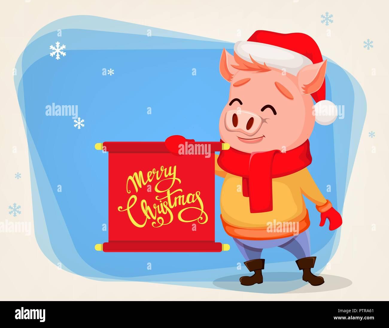 Felicitaciones De Navidad Divertidad.Feliz Navidad Tarjeta De Felicitacion Con Cerdo Lindo