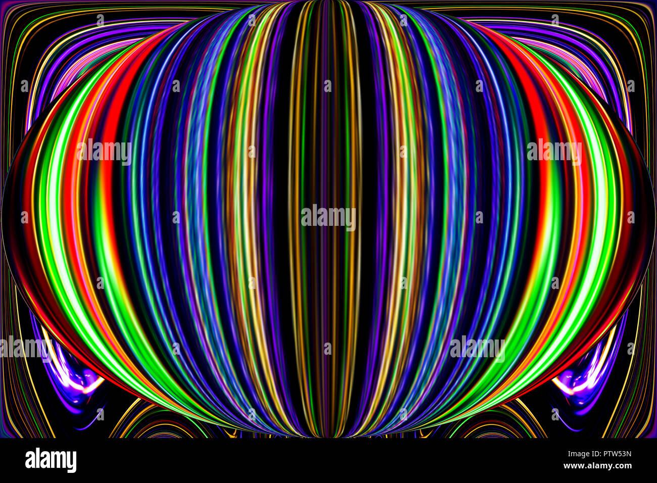 Líneas y curvas de color crea fantásticas imágenes de elipse. Pintura abstracta - cuadros psicodélico. Foto de stock