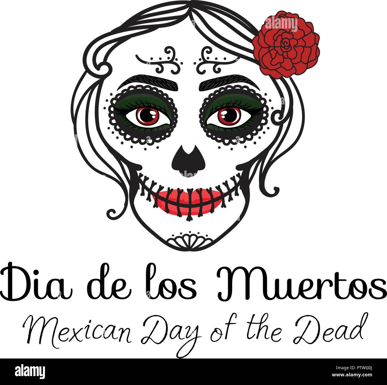 Firmar Dia De Los Muertos Catrina Mujer Con Maquillaje De Calaveras