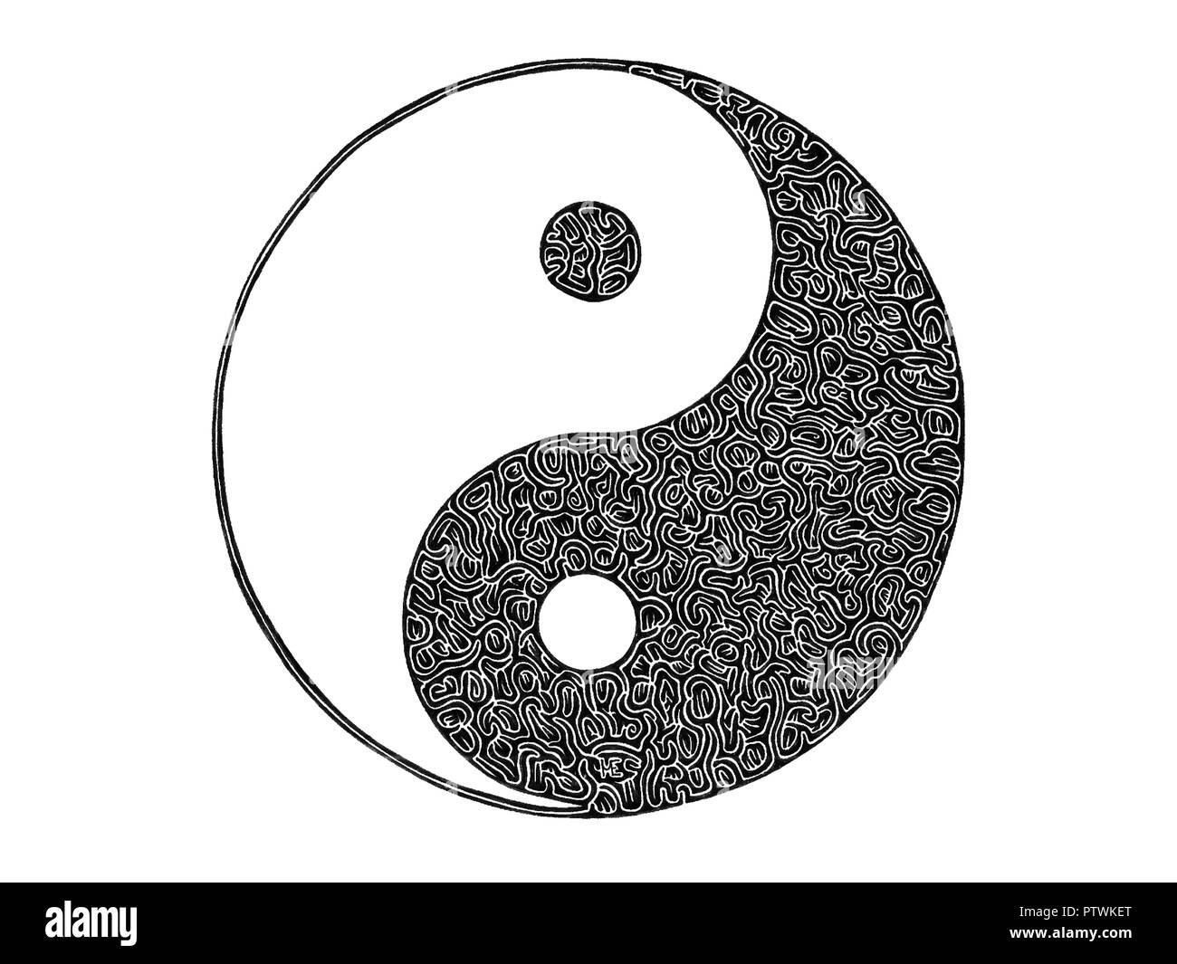 Ilustración Dibujo Del Símbolo De Yin Y Yang Blanco Y Negro