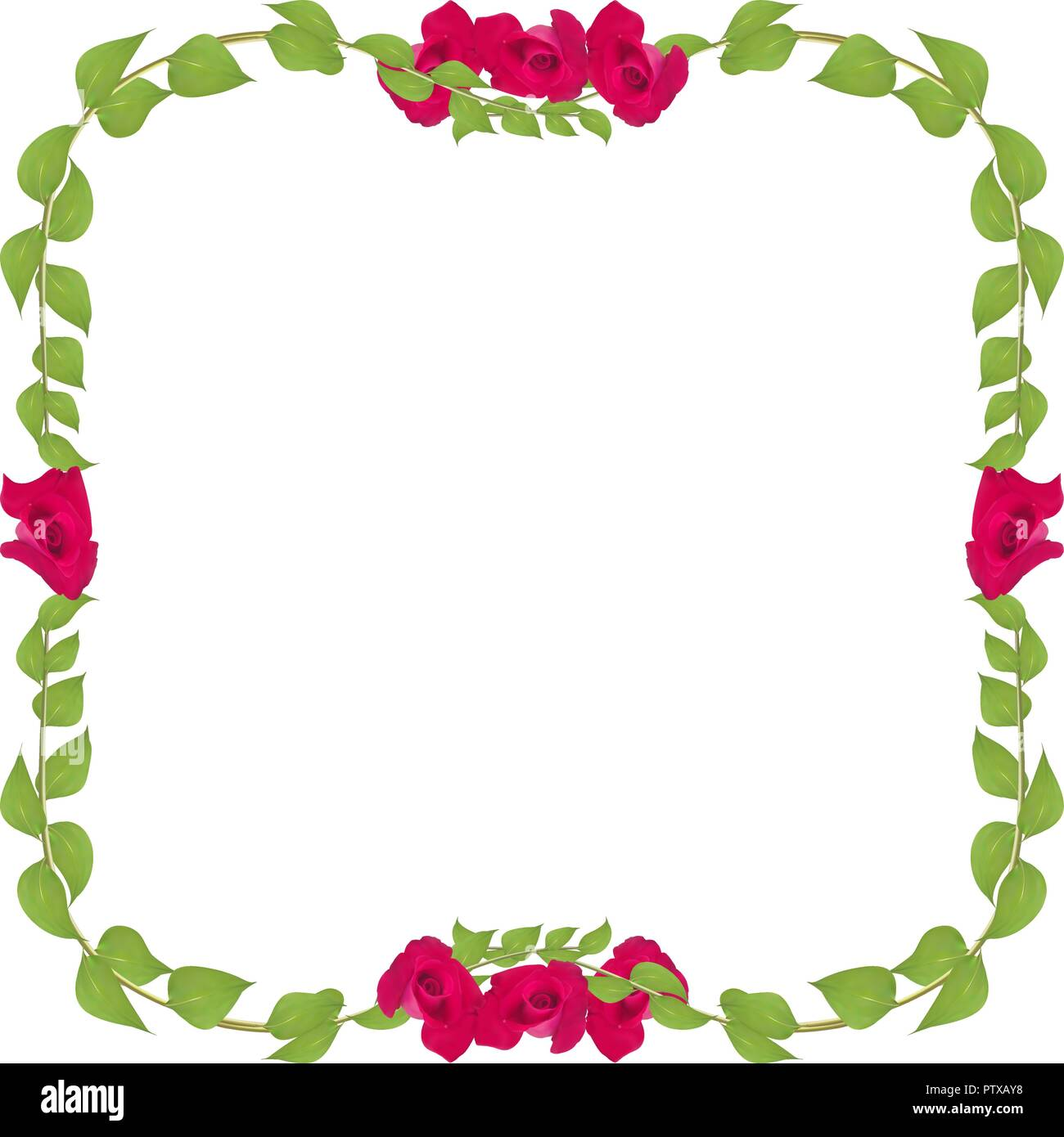 Bastidor De Vectores De Hojas Y Ramitas Con Rosas Rojas