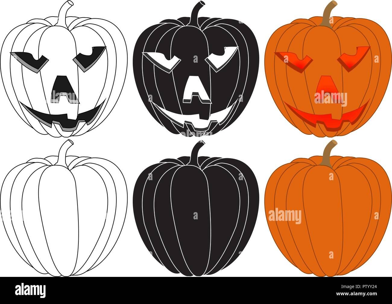 Halloween calabazas Ilustración del Vector