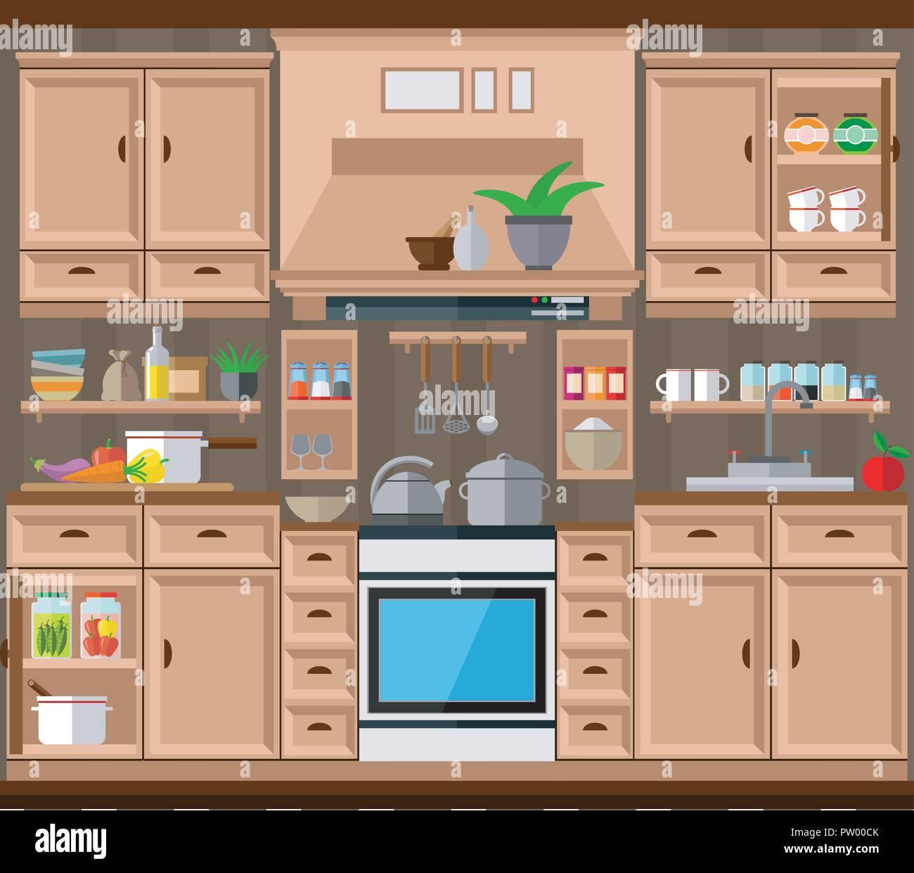 Diseño de cocinas, utensilios de cocina. Ilustración ...