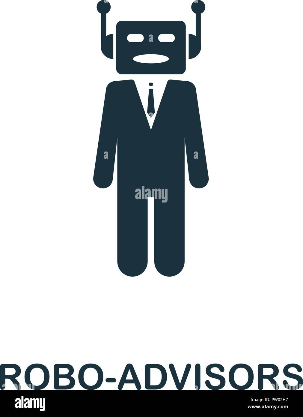 Icono Robo-Advisors. Diseño de estilo monocromo de fintech colección. UX y UI. Pixel Perfect robo-icono de asesores. Para el diseño de sitios web, aplicaciones, software, prin Ilustración del Vector