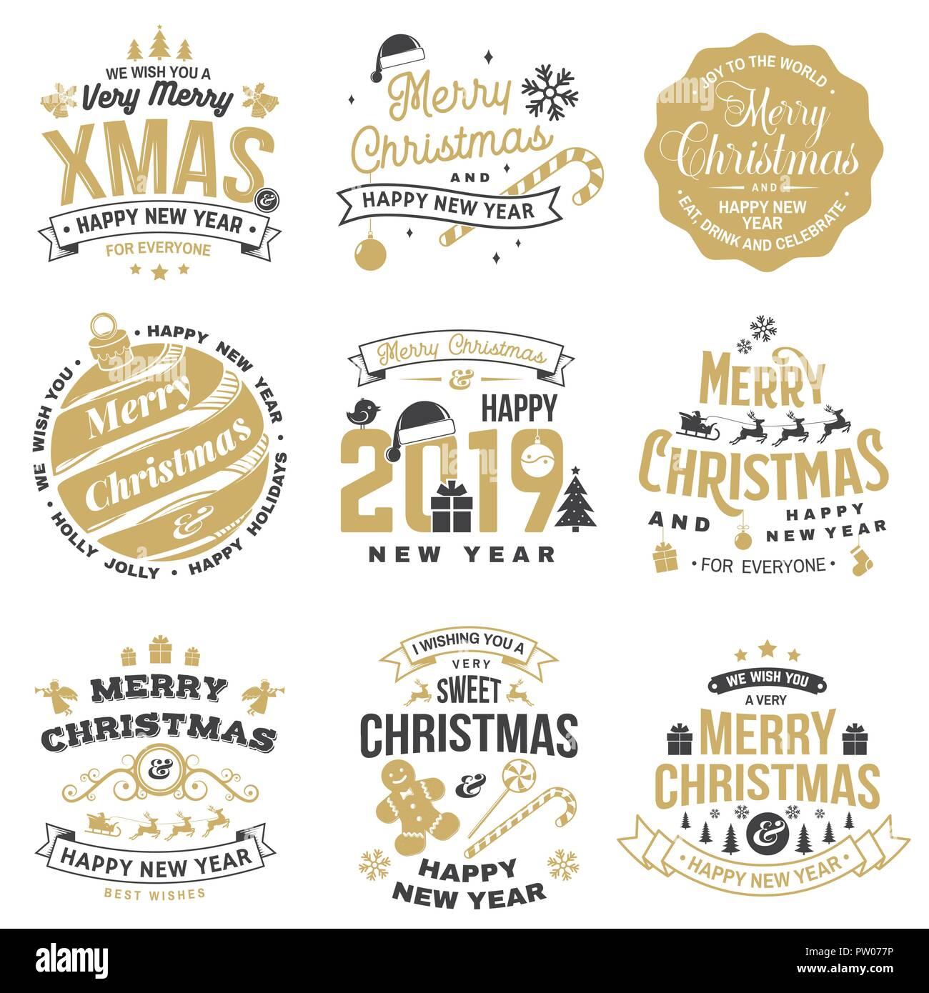 Juego De Feliz Navidad Y Feliz Ano Nuevo 2019 Sellos Adhesivos Con