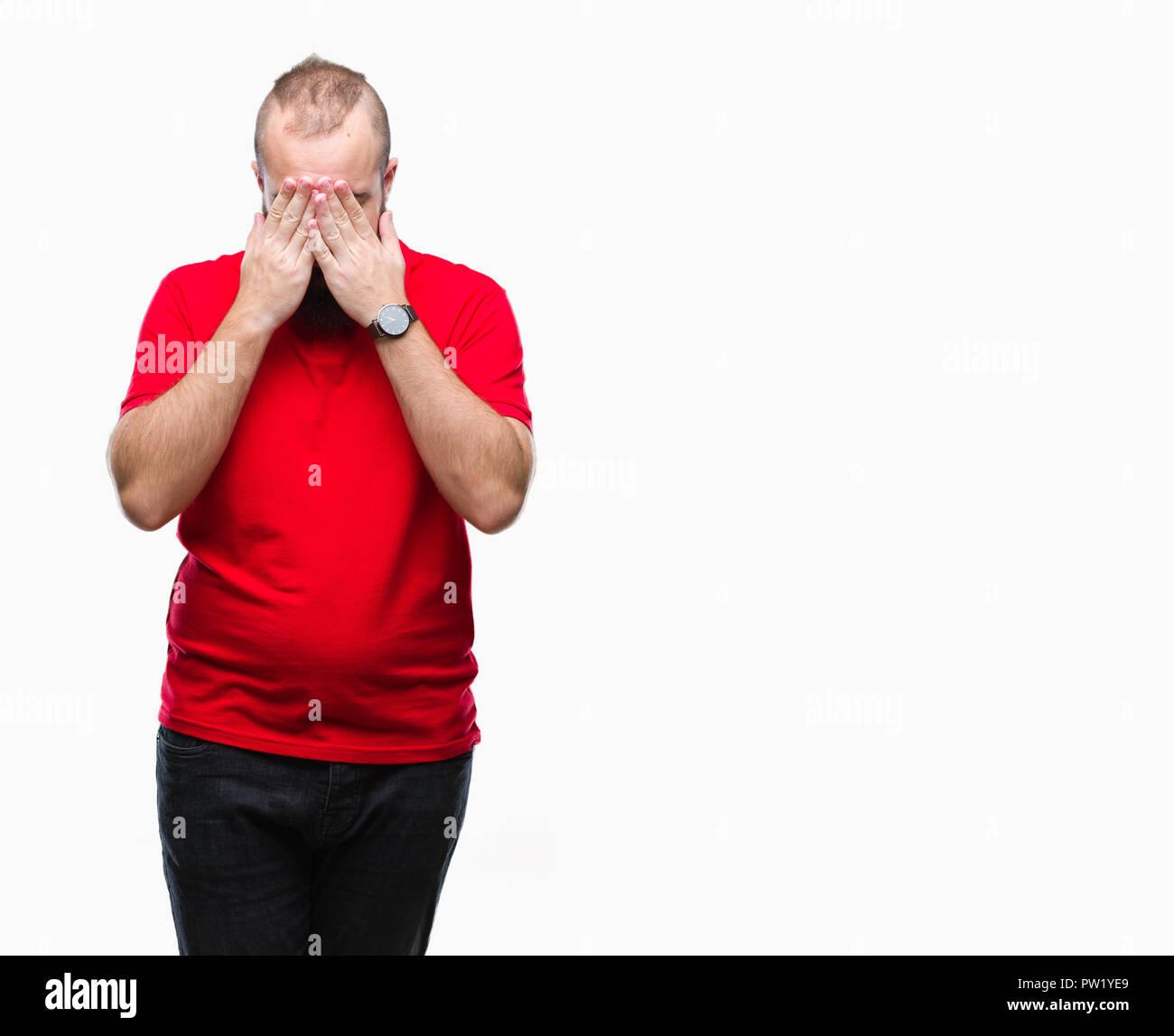 Los Jóvenes Caucásicos Hipster Hombre Vestido Con Camisa Roja Sobre