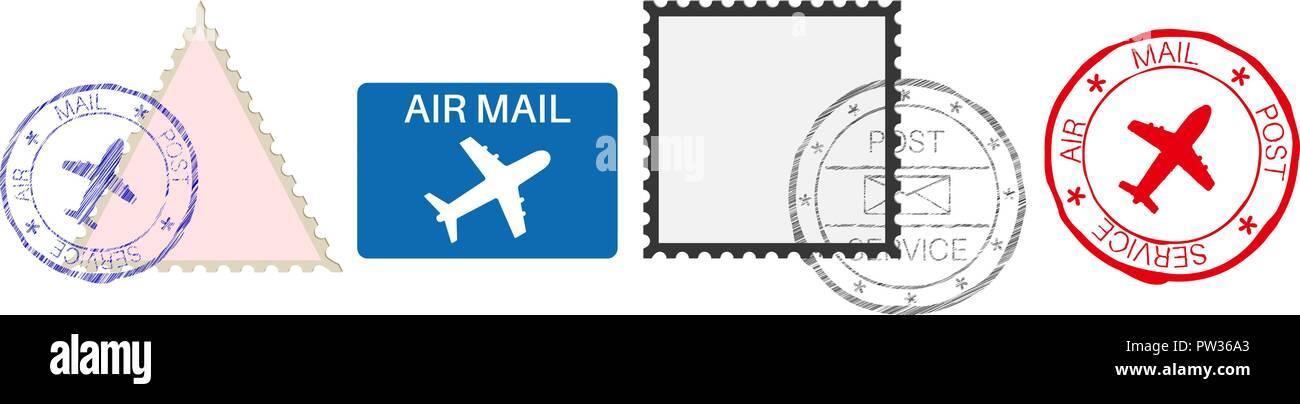 Matasellos. Color de los elementos postales con signos de avión ...