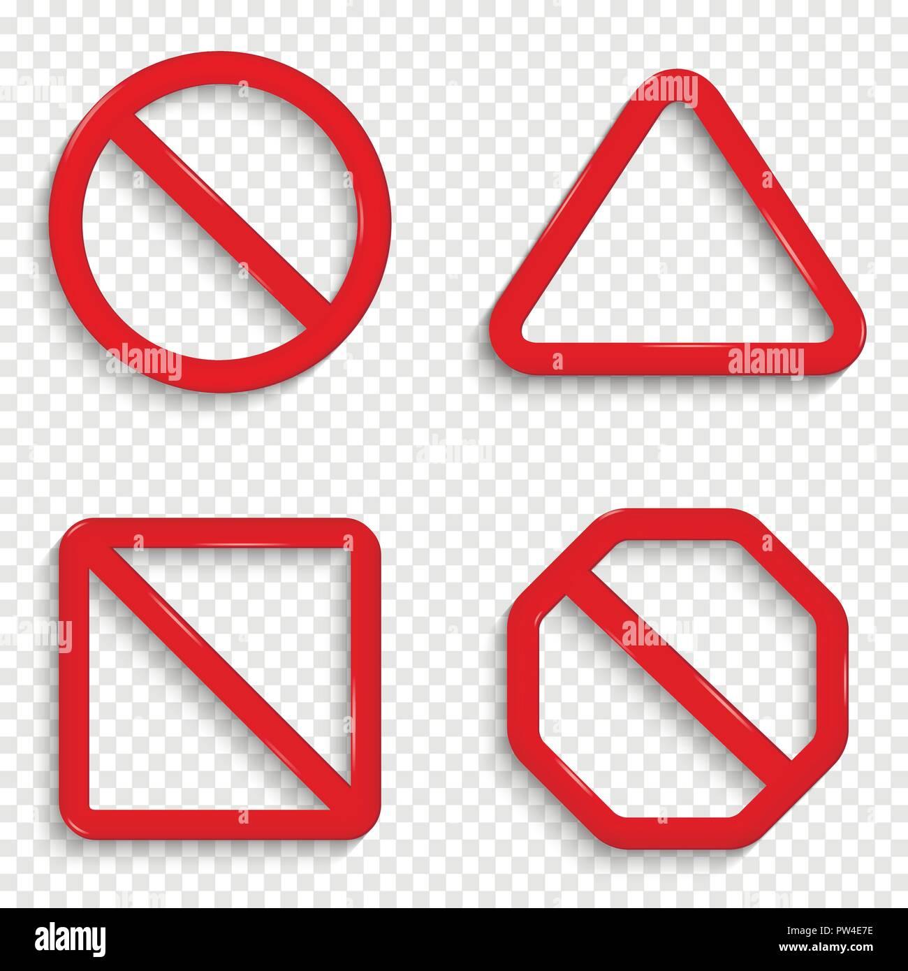 Sin signos. Prohibido carteles rojos aislado sobre fondo transparente. Imagen De Stock