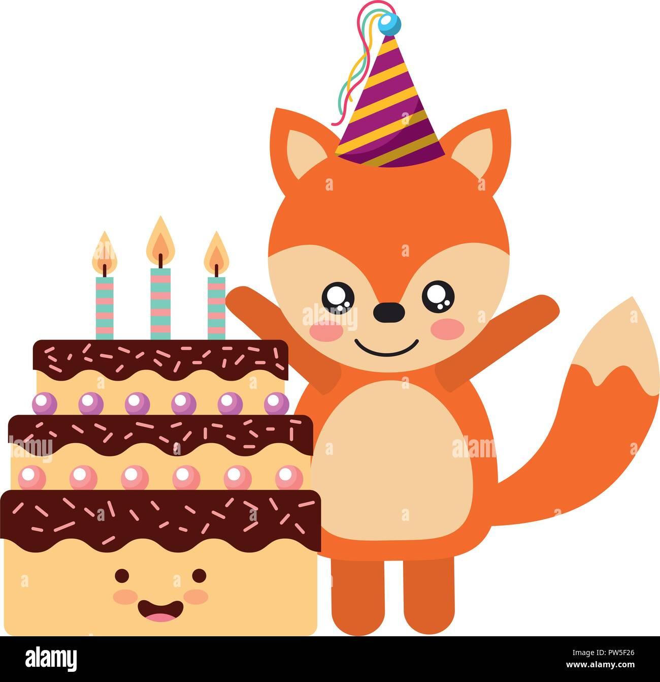 244bd4286 Lindo fox y pastel de cumpleaños kawaii. Disponible para cualquier proyecto