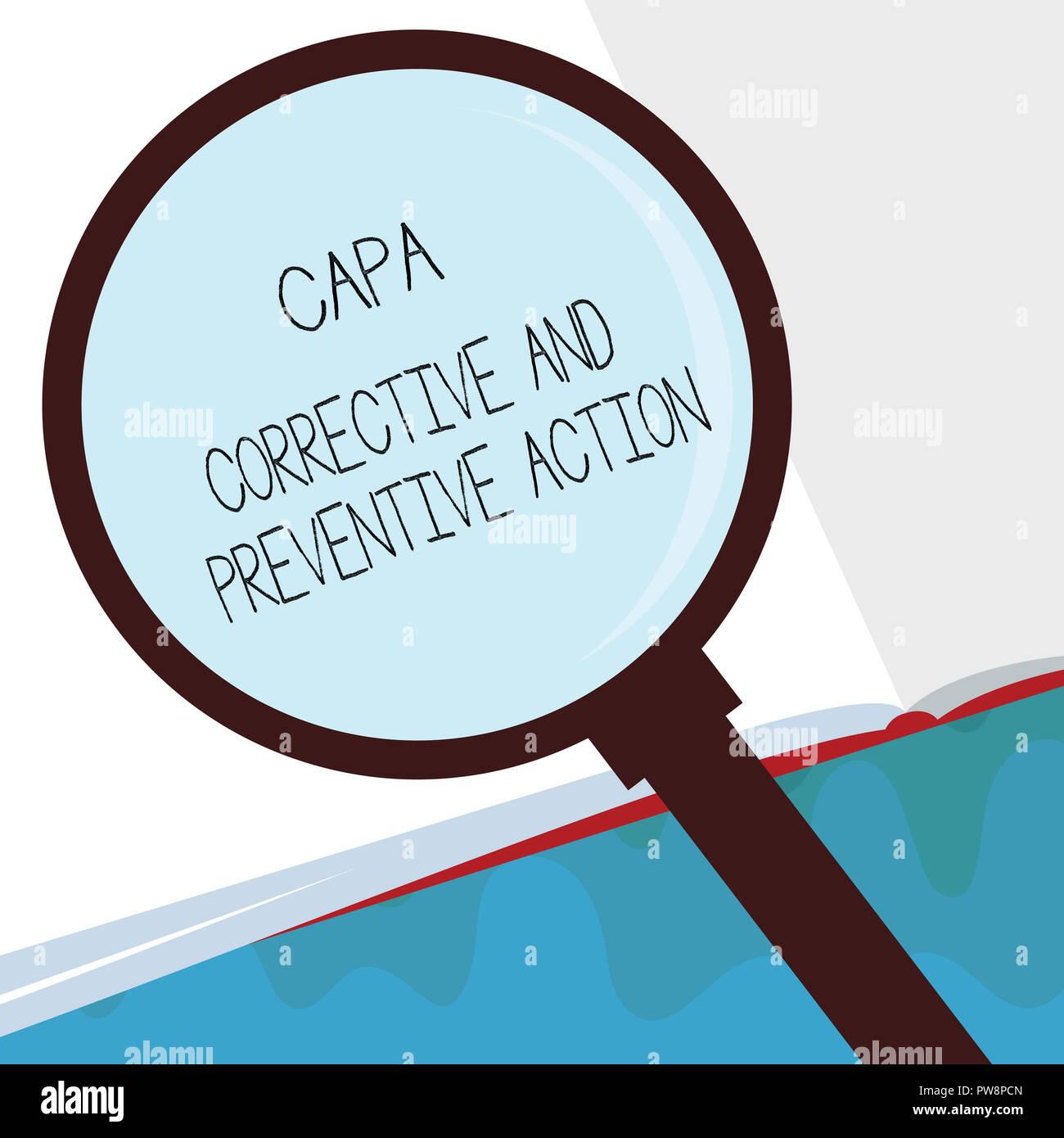 Capa de texto de escritura las acciones correctoras y preventivas. Concepto significado la eliminación de no conformidades. Foto de stock