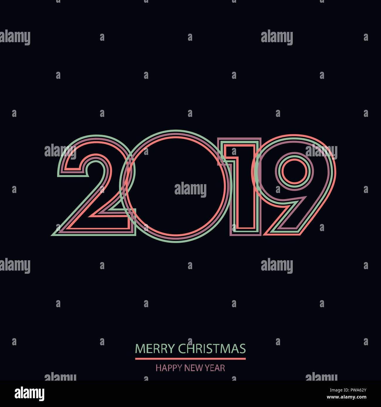 Imagenes Felicitacion Navidad 2019.Feliz Ano Nuevo O Tarjeta De Felicitacion De Navidad 2019