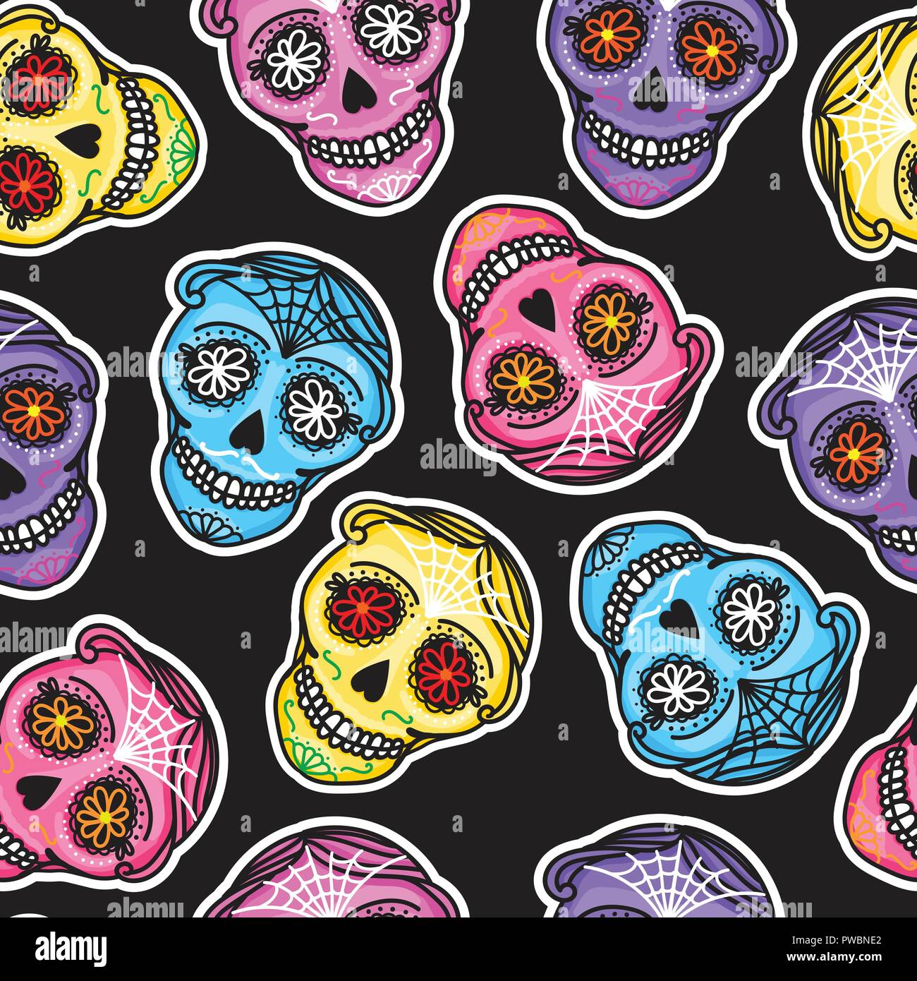 Color De Trama Perfecta Calavera Firmar Dia De Los Muertos El Día