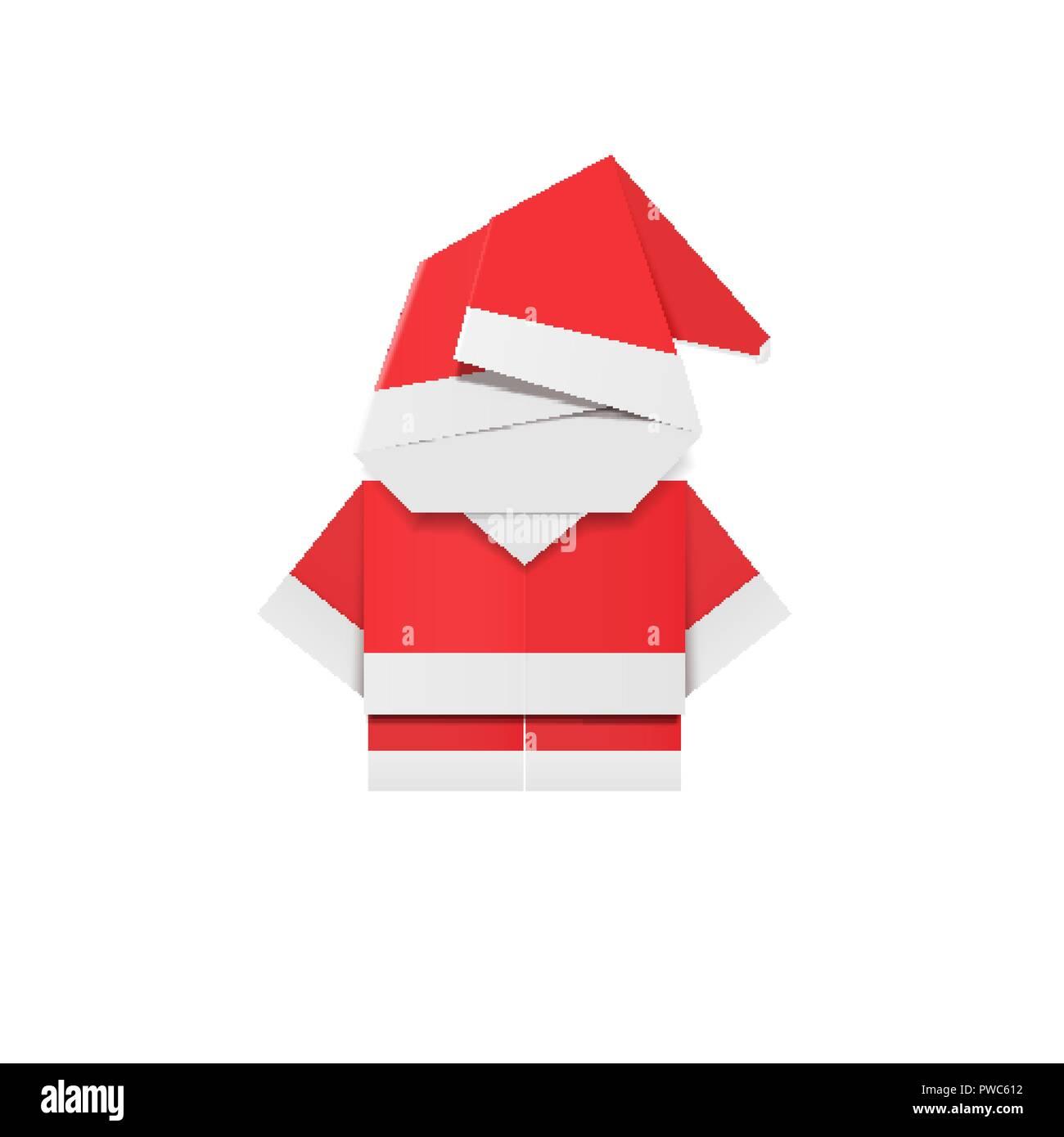 Papel Rojo Santa Claus Origami De Papa Noel Decoracion De Ano - Origami-papa-noel