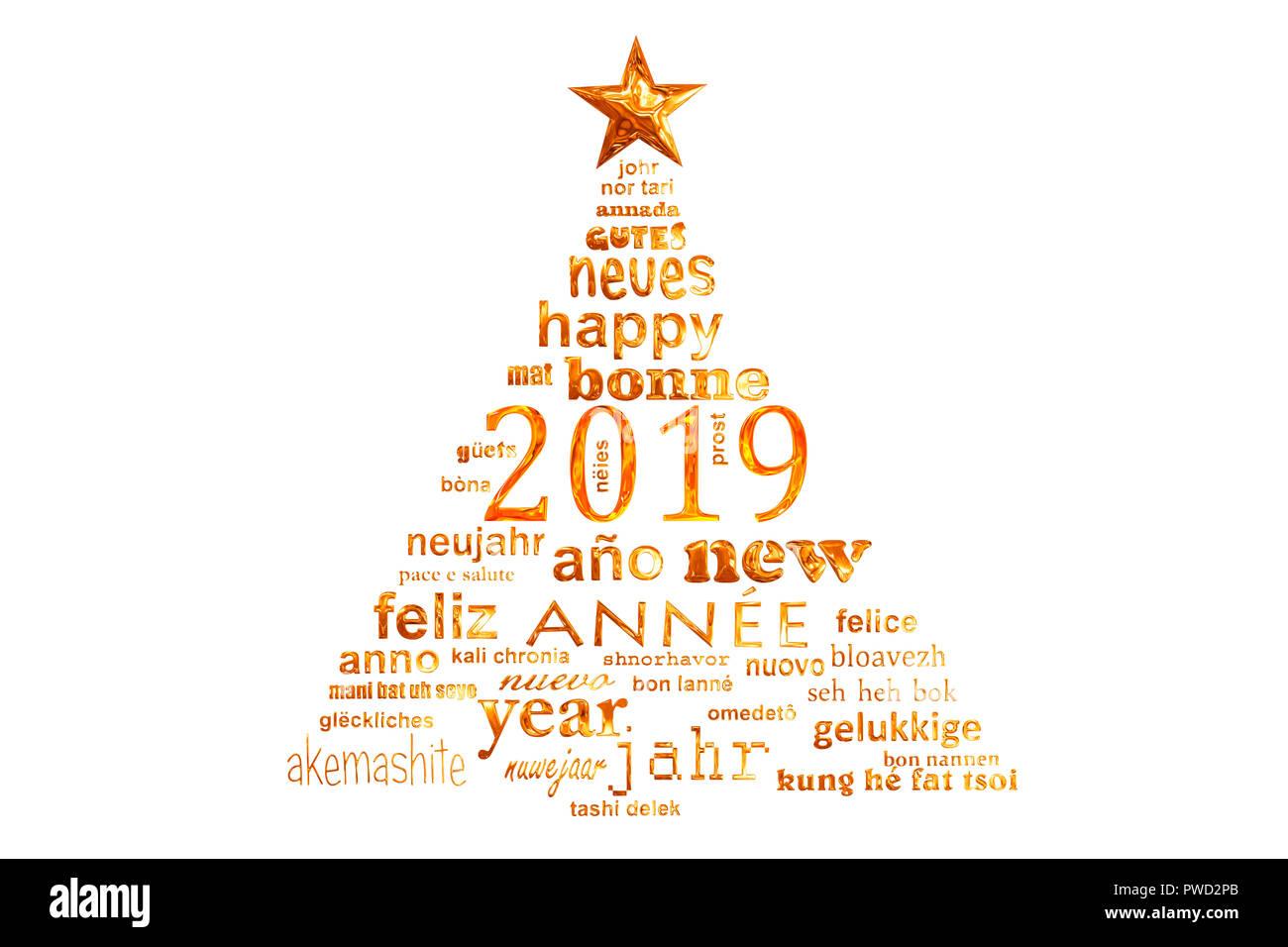 Imagenes Felicitacion Navidad 2019.2019 Ano Nuevo Texto Multilingue Palabra Cloud Tarjeta De