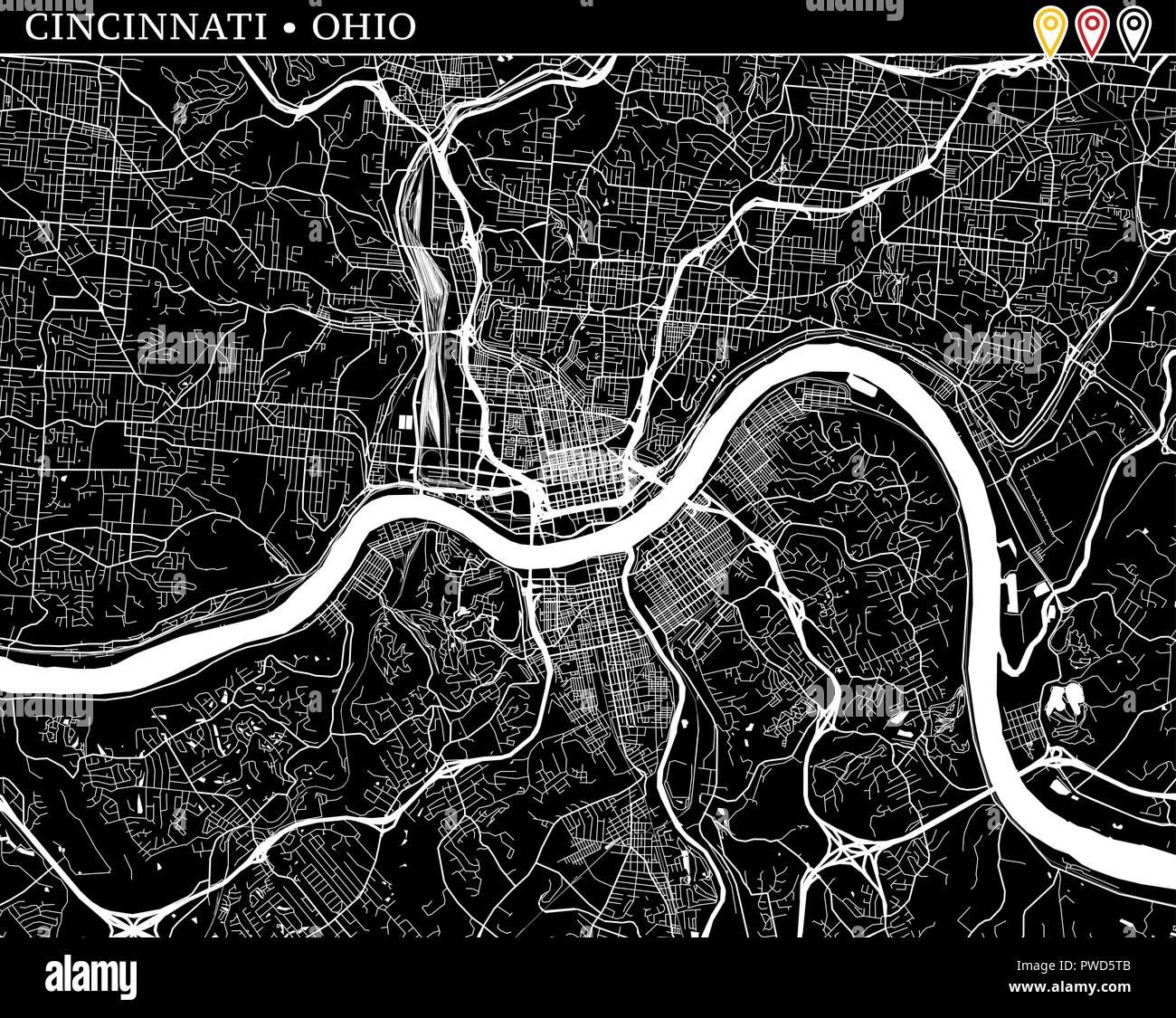 Mapa Sencillo De Cincinnati Ohio Usa Version En Blanco Y Negro