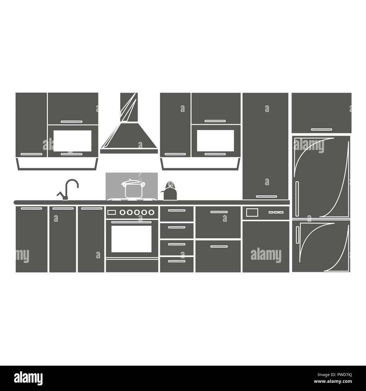 Icono De Plan Interior Cocina Dibujo Ilustración Vectorial EPS10. Insignia  Aislado Proyecto De Cocina Diseño Plano Para Web O App   Gráficos  Bursátiles.eps ...