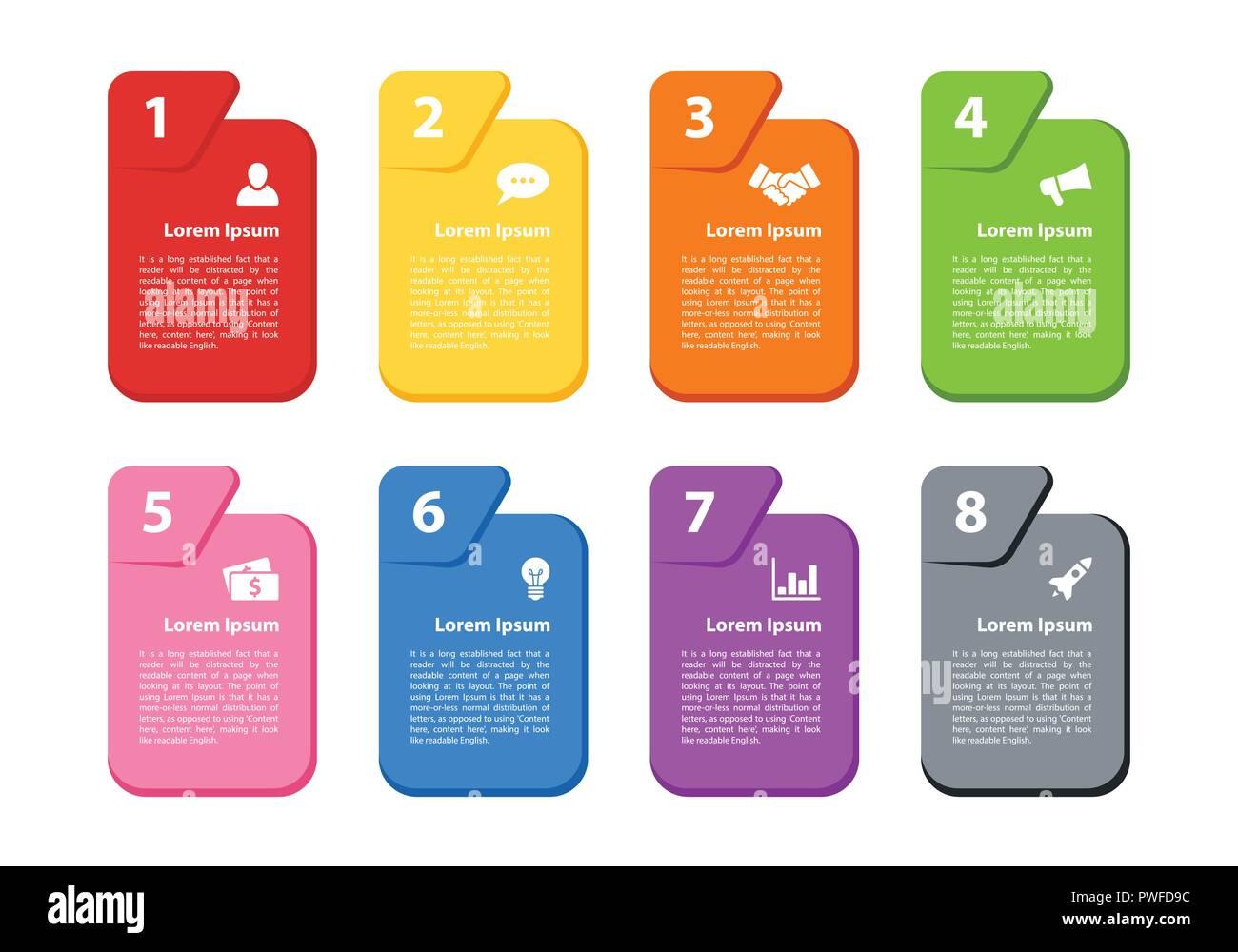 Concepto de negocio diseño infografía ilustración vectorial con 8 pasos o procesos representan opciones o diagrama de flujo o diagrama de flujo de trabajo o para el folleto, Ilustración del Vector