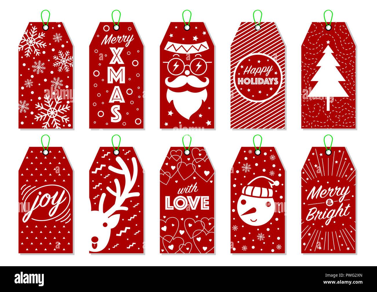 Colección de 10 Etiquetas de regalo de Navidad. Cool Etiquetas navideñas. Hipster y minimalista de vectores para la tarjeta de regalo. Imagen De Stock