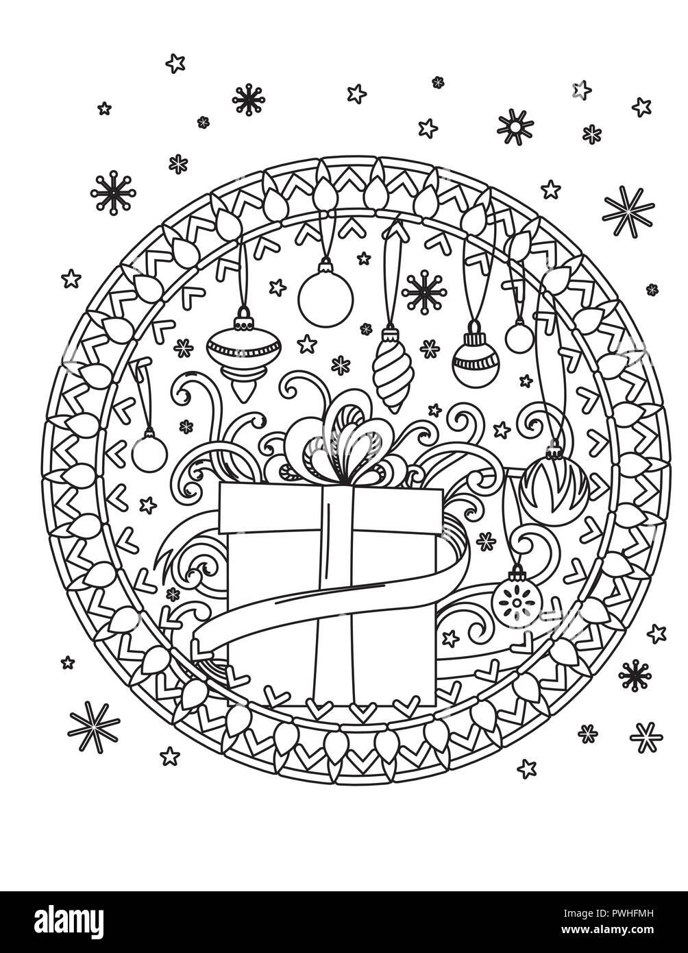 Navidad Colorear Mandala Página Libro Para Colorear De Adultos