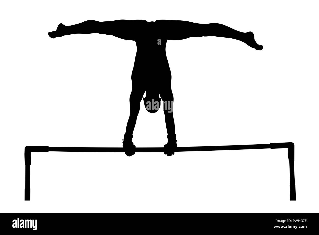 cd6de5e991de Ejercicio barras paralelas mujer gimnasta silueta negra Imagen De Stock