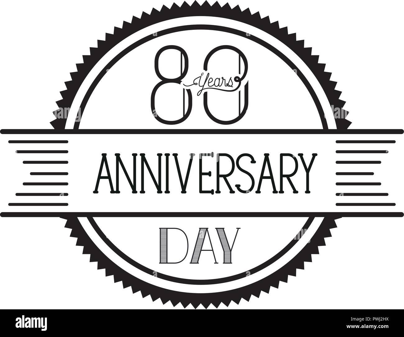 Celebración Del Aniversario Número 80 De Icono De Tarjeta