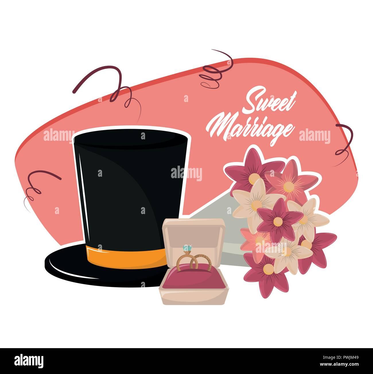 Tarjeta De Invitación De Matrimonio Dulce Cartoon