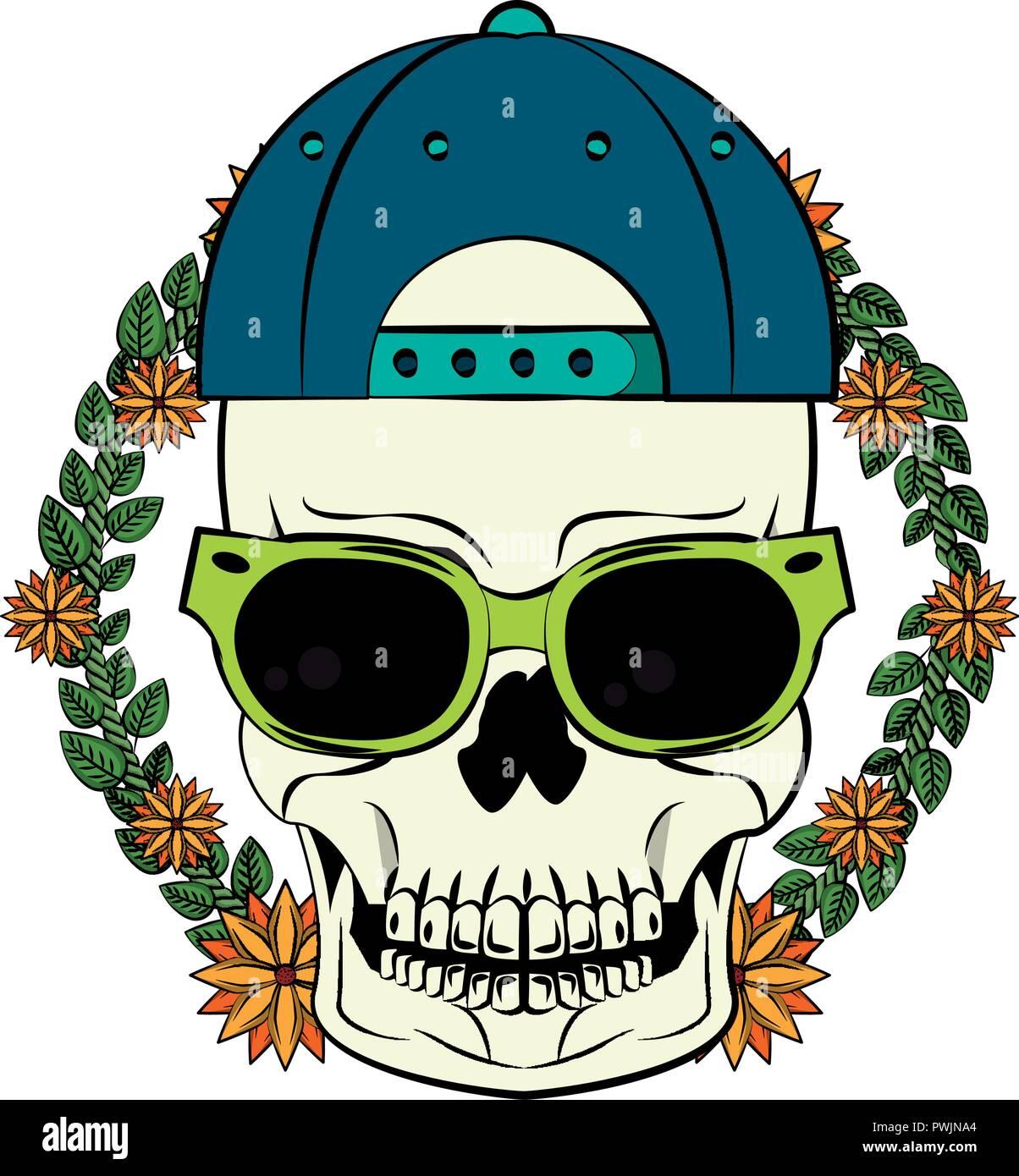 9c0ad8ce54 de de de y ofrenda sombrero ilustración en gafas con sol Calavera floral  H1xfEfq