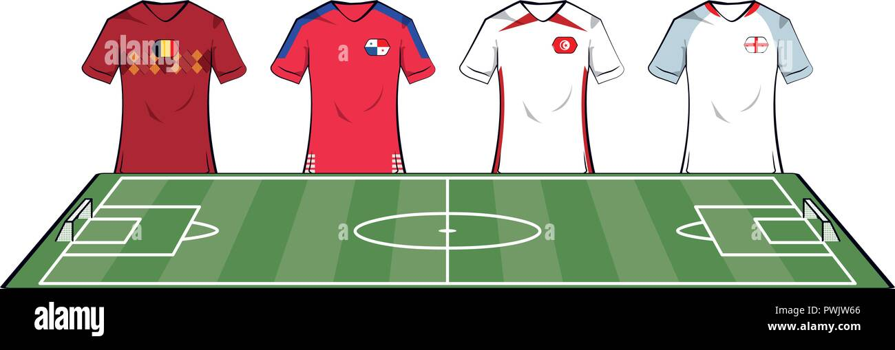 Camisetas de equipos de fútbol en el campamento campo ilustración vectorial diseño  gráfico f44c1decbdccb