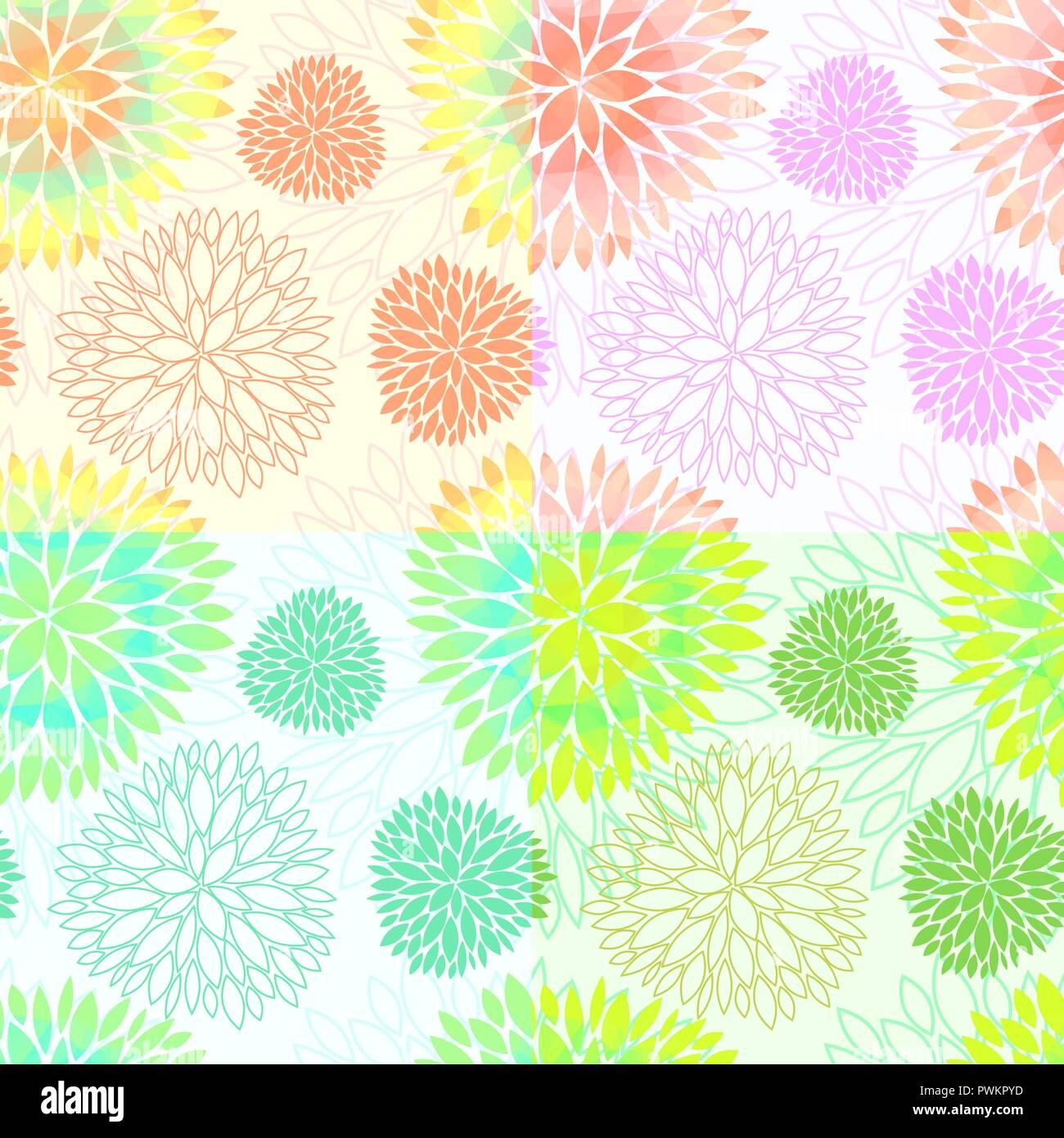 Conjunto De 4 Seamless Vector Floral Abstracto Antecedentes En Luz Y