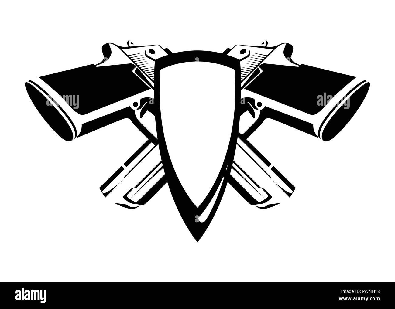 fac86bf974e Escudo de Armas con Desert Eagle en los colores blanco y negro. Escudo de  vectores con arma sobre fondo blanco.