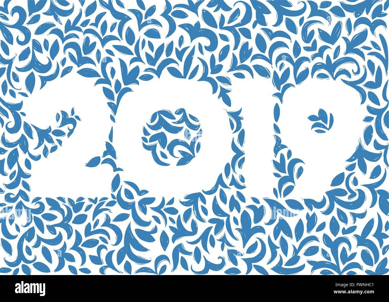 Decoración Floral Vector Postal Para 2019 Año Nuevo