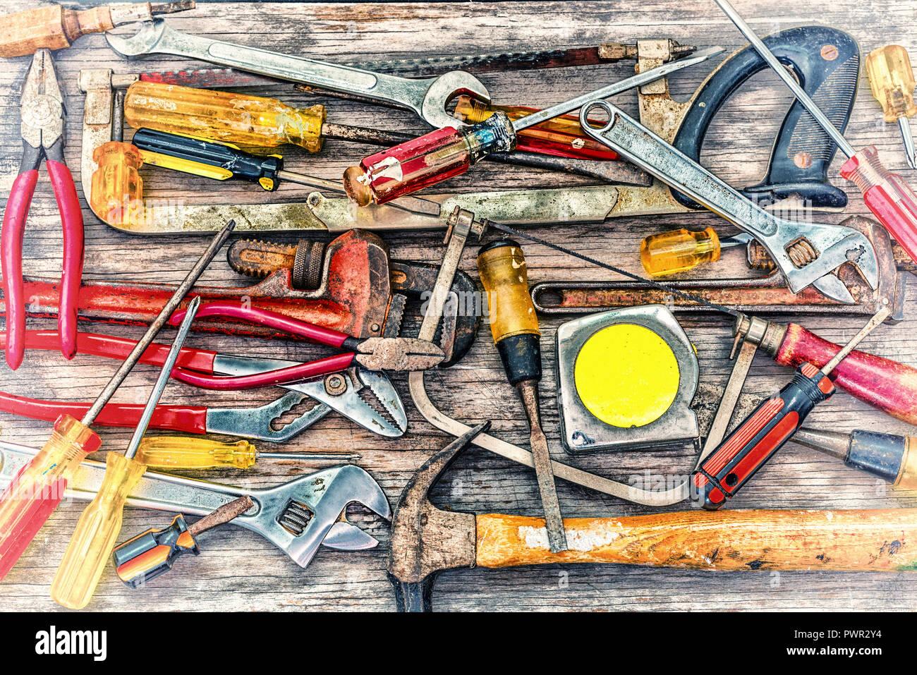 Colección de herramientas de carpintería. Foto de stock
