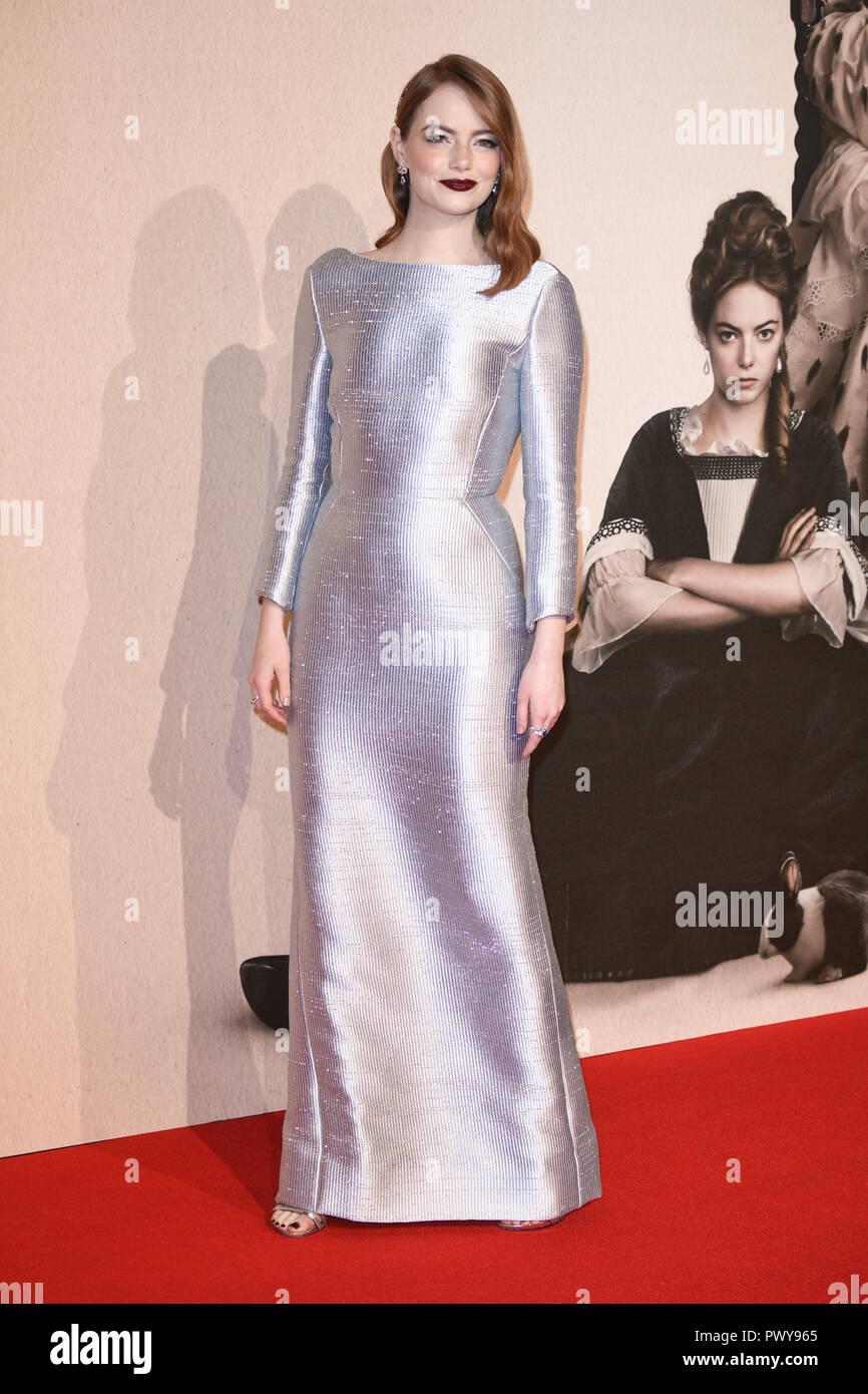 Londres, Reino Unido. Octubre 18, 2018: Emma Stone en el Festival de Cine de Londres proyección de 'La Favorita' en el BFI South Bank de Londres. Imagen: Steve SAV/Featureflash Crédito: Paul Smith/Alamy Live News Foto de stock