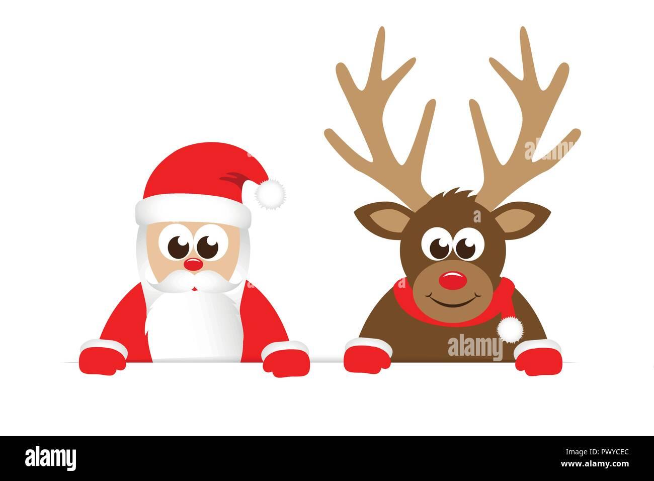 Renos Y Santa Claus Navidad Cartoon Ilustración Vectorial