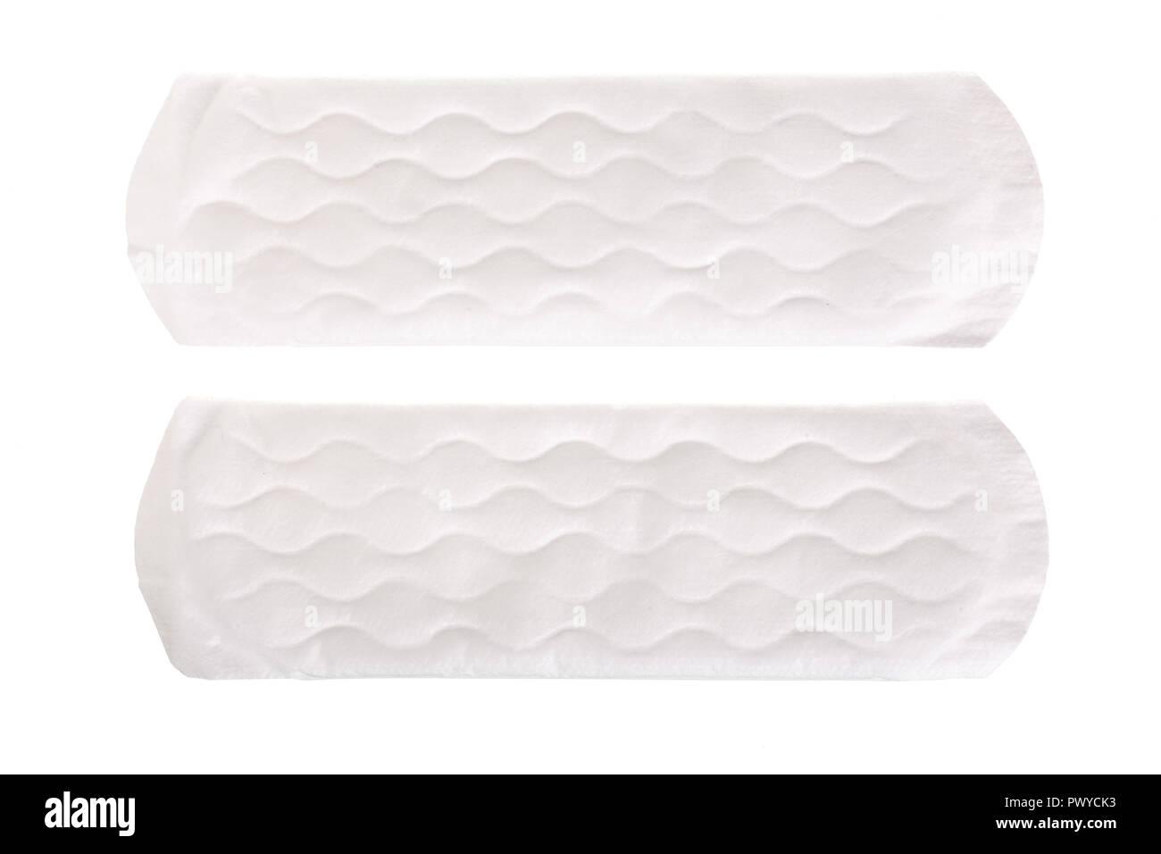 La mujer cada día higiénicas panty liners aislado sobre fondo blanco. Vista desde arriba. Imagen De Stock