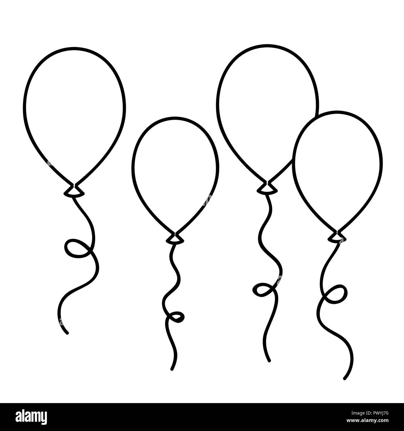 Globos dibujo sencillo esquema para colorear la ilustración